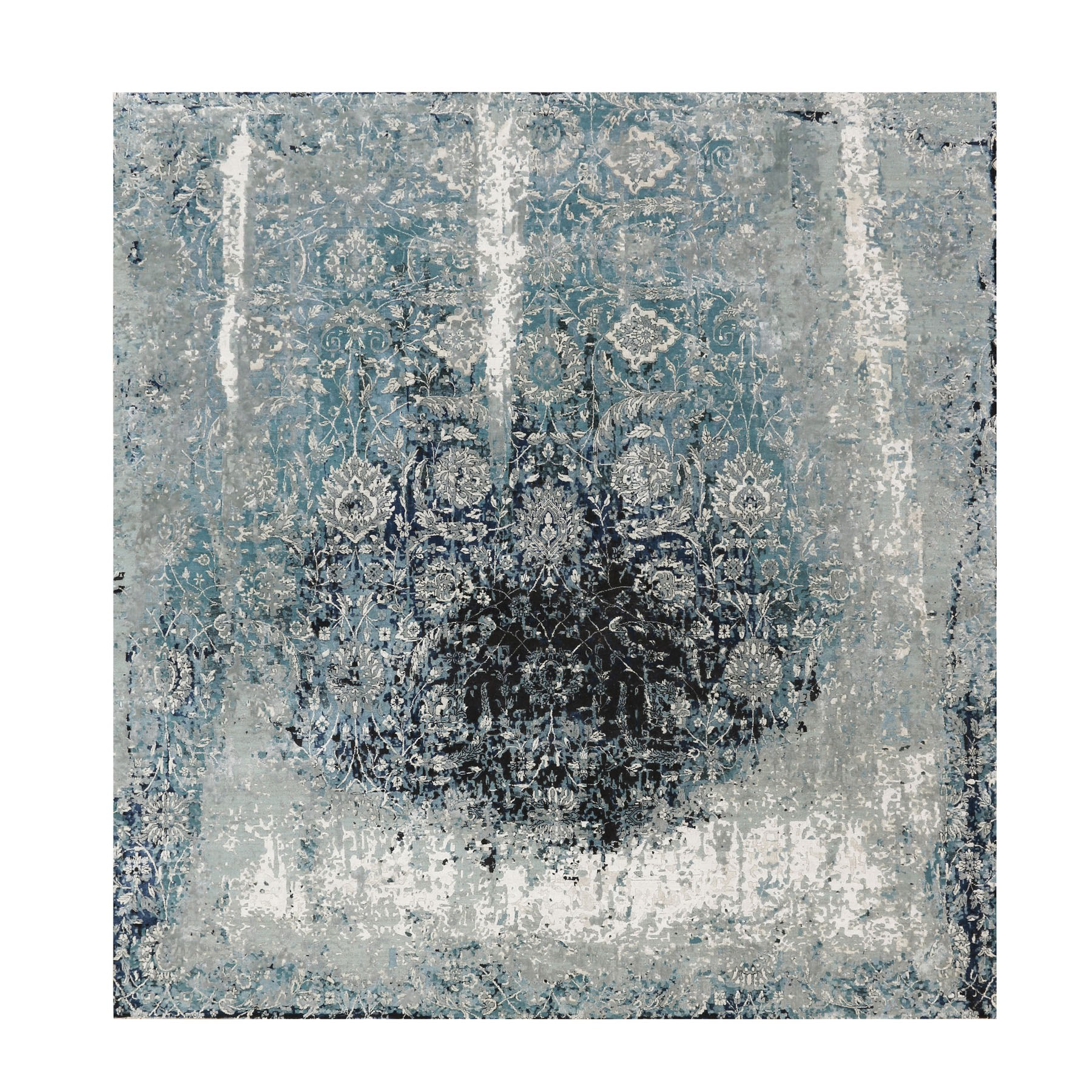 "12'2""x12'2"" Blue Broken Persian Tabriz Erased Design Wool and Silk Hand Knotted Square Oriental Rug"