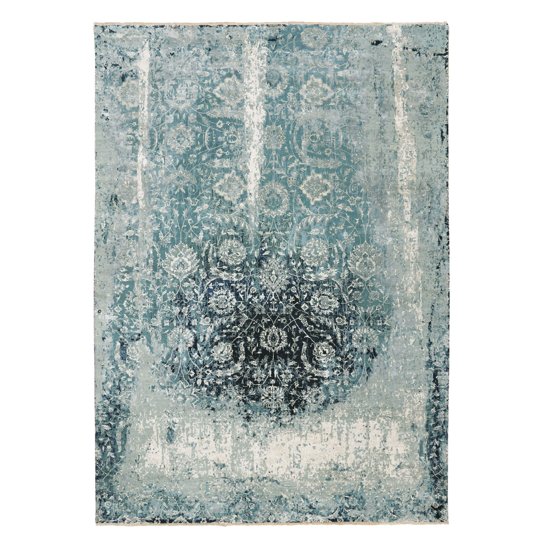 "10'x14'1"" Blue Broken Persian Tabriz Erased Design Wool and Silk Hand Knotted Oriental Rug"