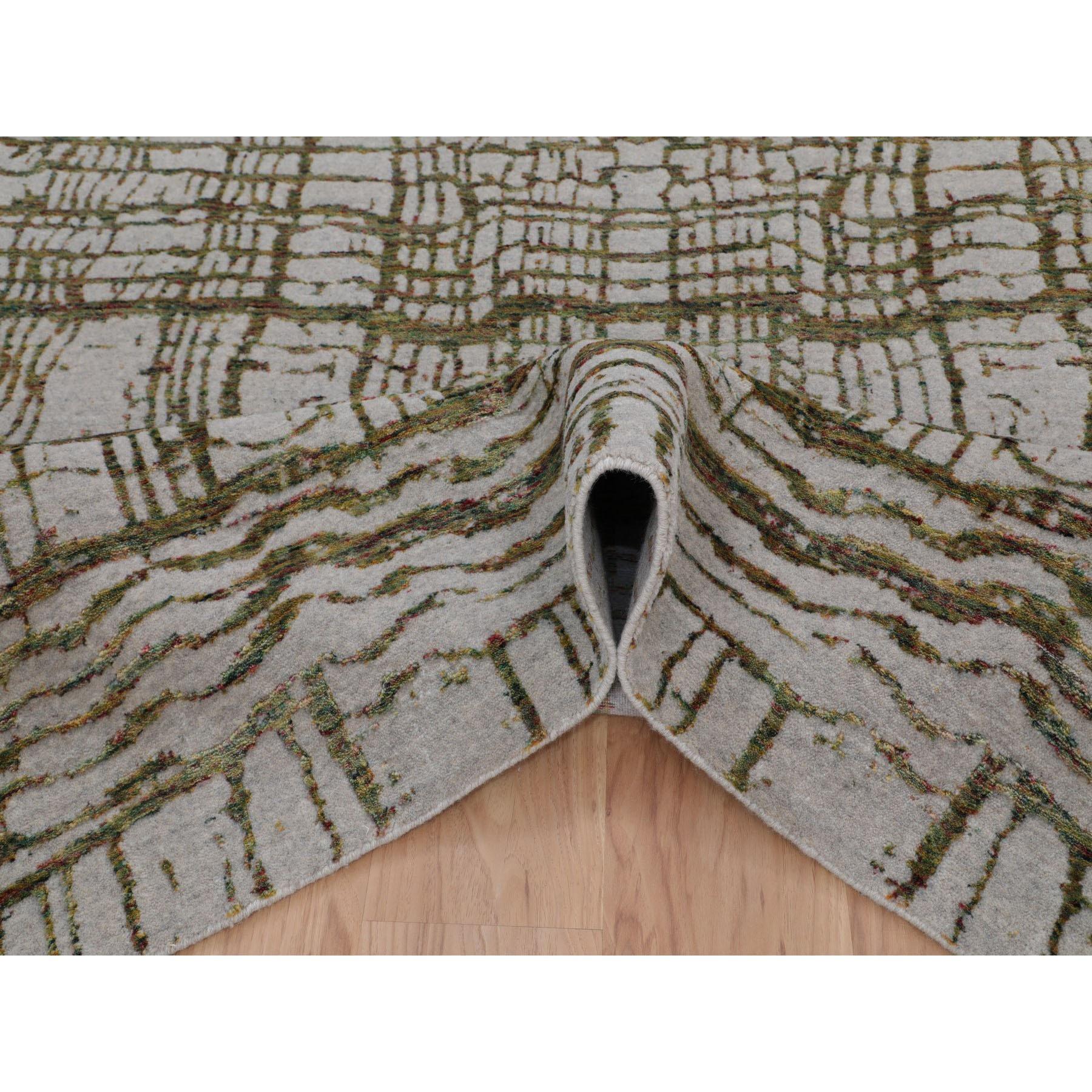 "9'x11'7"" Gray Fine jacquard Modern Wool and Art Silk Hand Loomed Oriental Rug"
