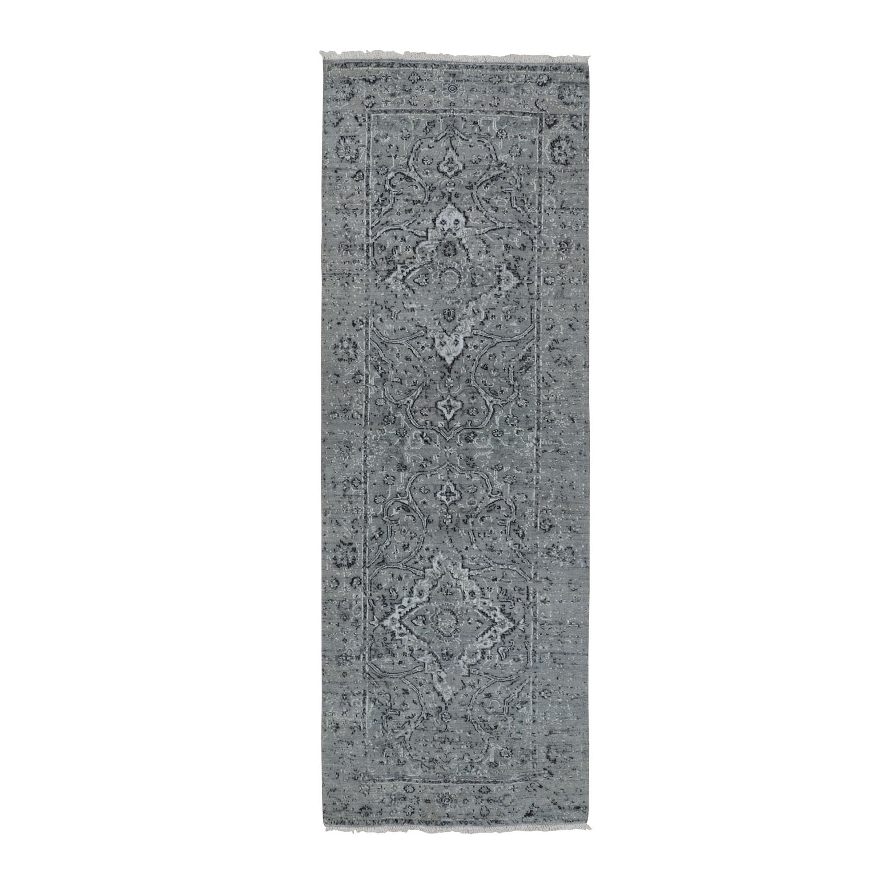 "2'10""x8' Gray Broken Persian Erased Design Runner Silk With Textured Wool Hand Knotted Oriental Rug"