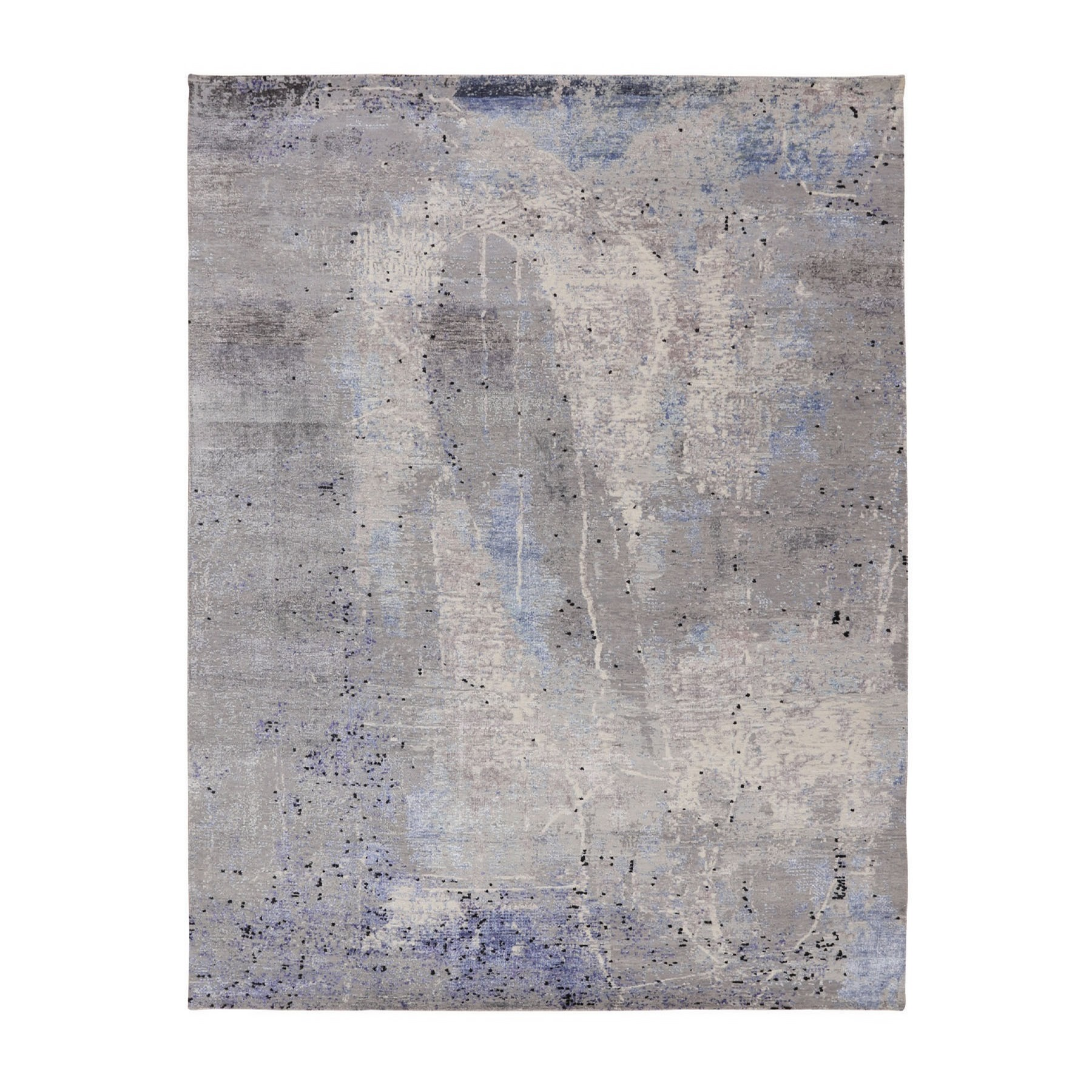 """7'9""""X10'3"""" Abstract Design With Soft Blues Wool And Silk Hand Knotted Oriental Rug moae80b6"""