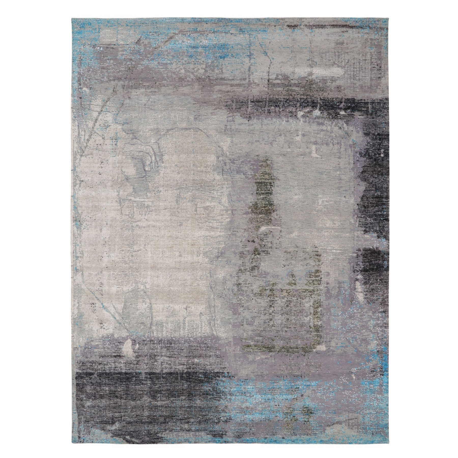 """9'X12'3"""" Soft Colors Shades  Abstract Design Wool And Silk Hand Knotted Oriental Rug moae80ca"""