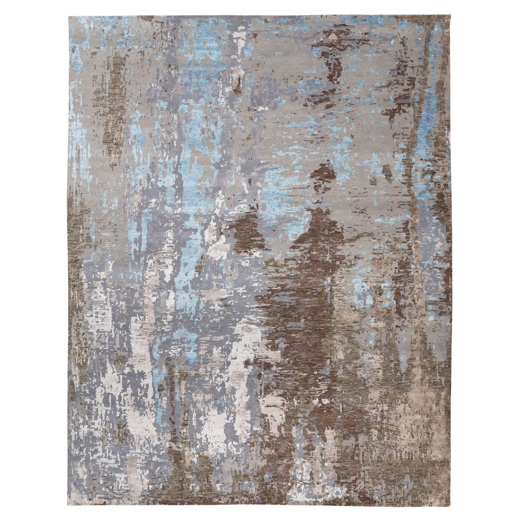 """12'1""""X15'1"""" Oversized Abstract Design Modern Wool And Silk Hand Knotted Oriental Rug moae80ce"""