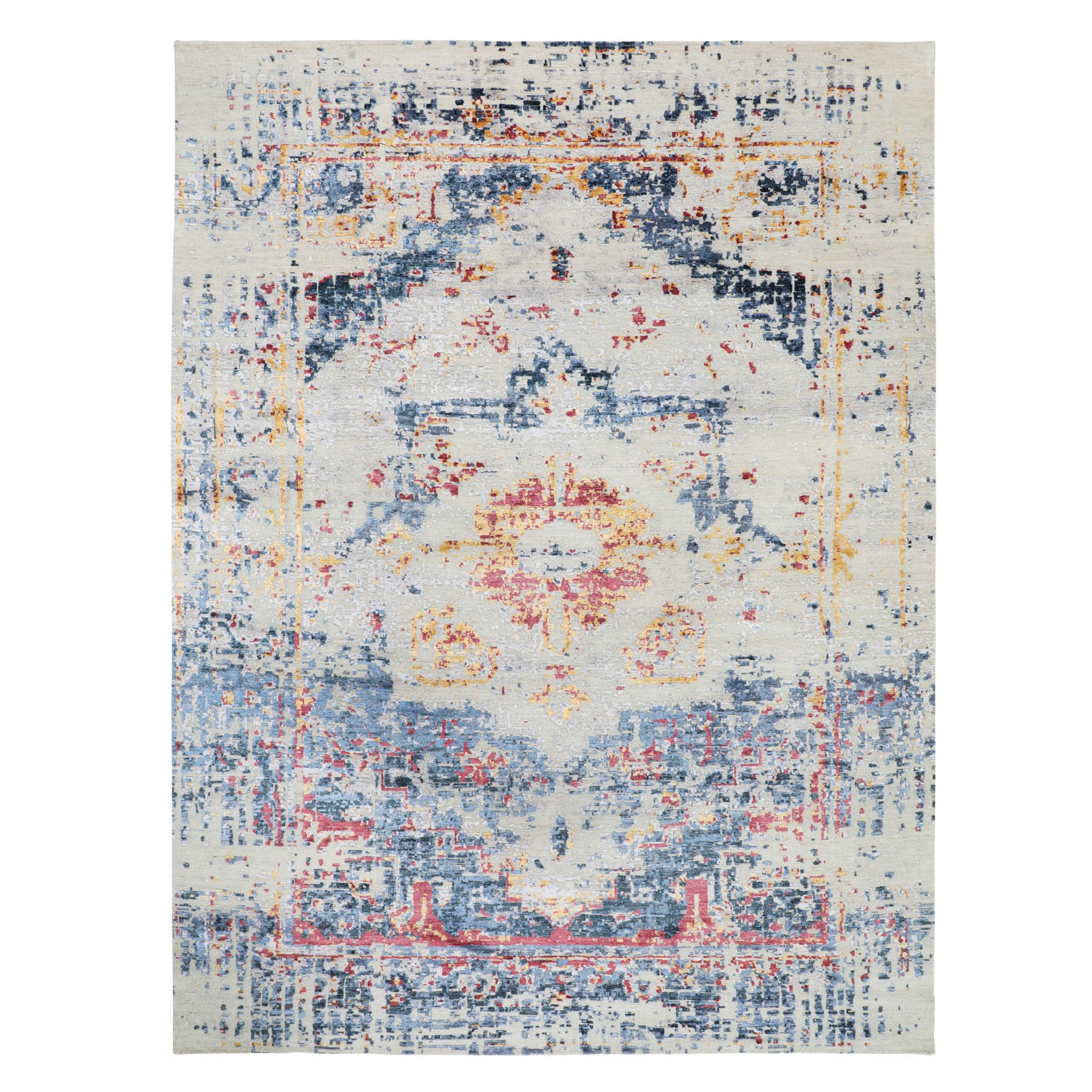 8'x10' Colorful Erased Heriz Design Silk with Textured Wool Hand Knotted Oriental Rug