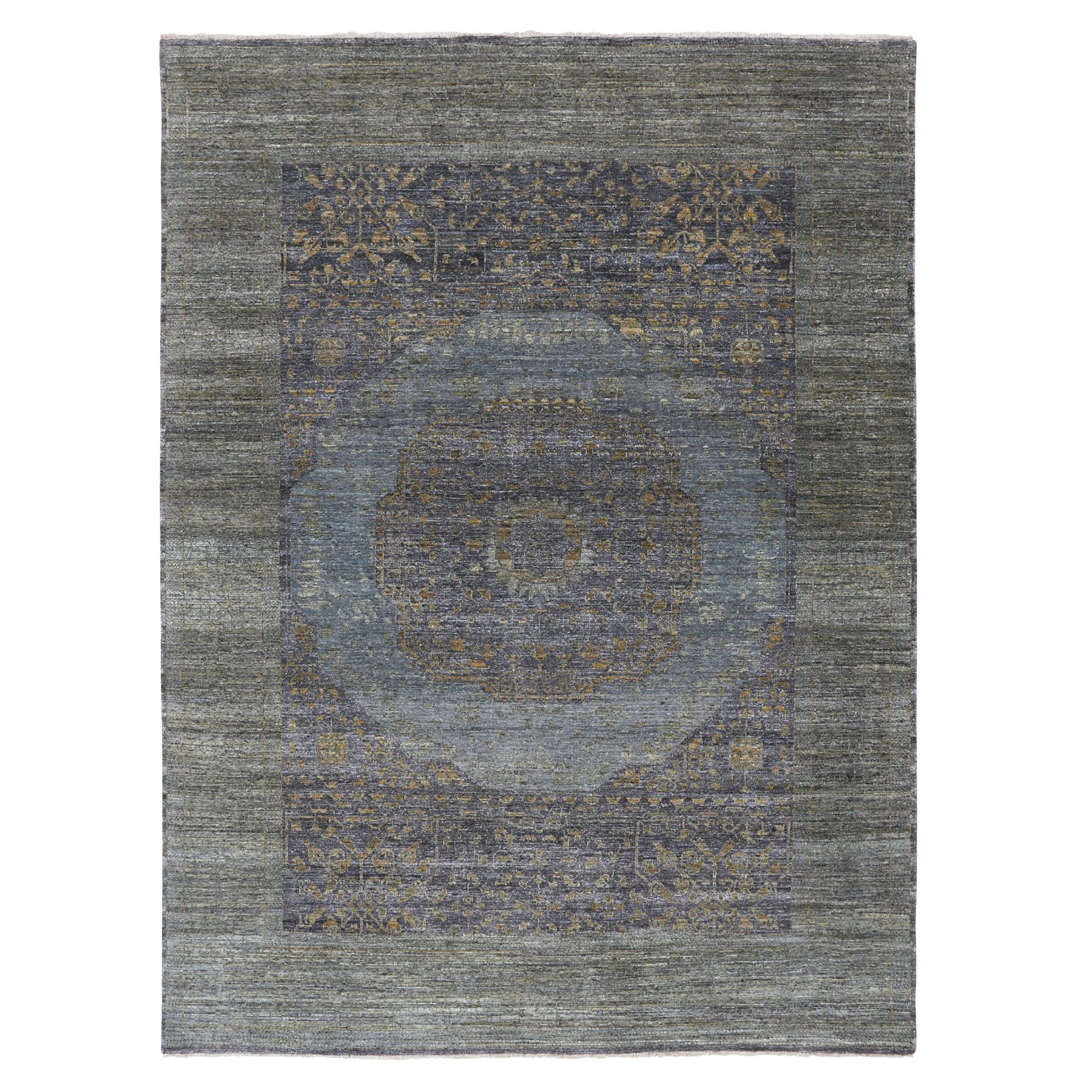"9'x12'2"" Mamluk Design with Soft Flowing Color Textured Wool and Silk Hand Knotted Oriental Rug"