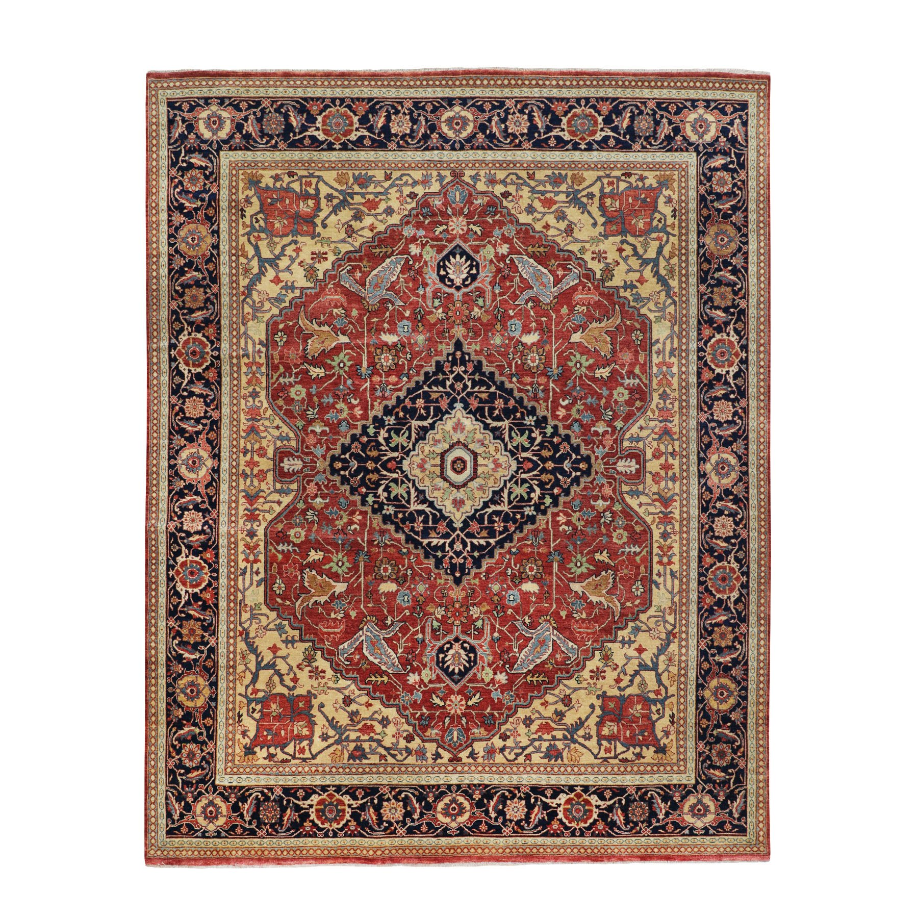 8'X10' Red Antiqued Heriz Re-Creation Hand Knotted Pure Wool Oriental Rug moae80eb