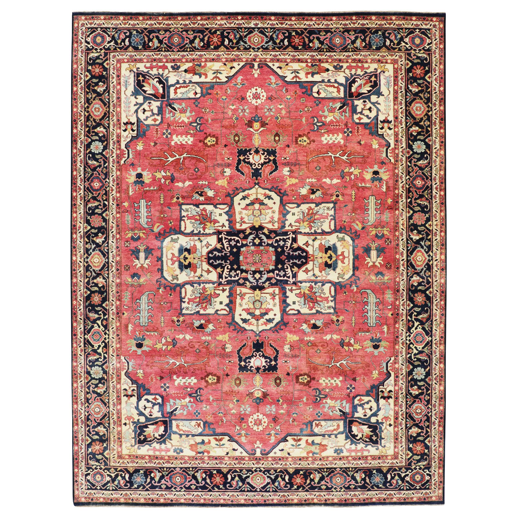 "9'1""x12' Red Antiqued Heriz Re-creation Hand Knotted Pure Wool Oriental Rug"