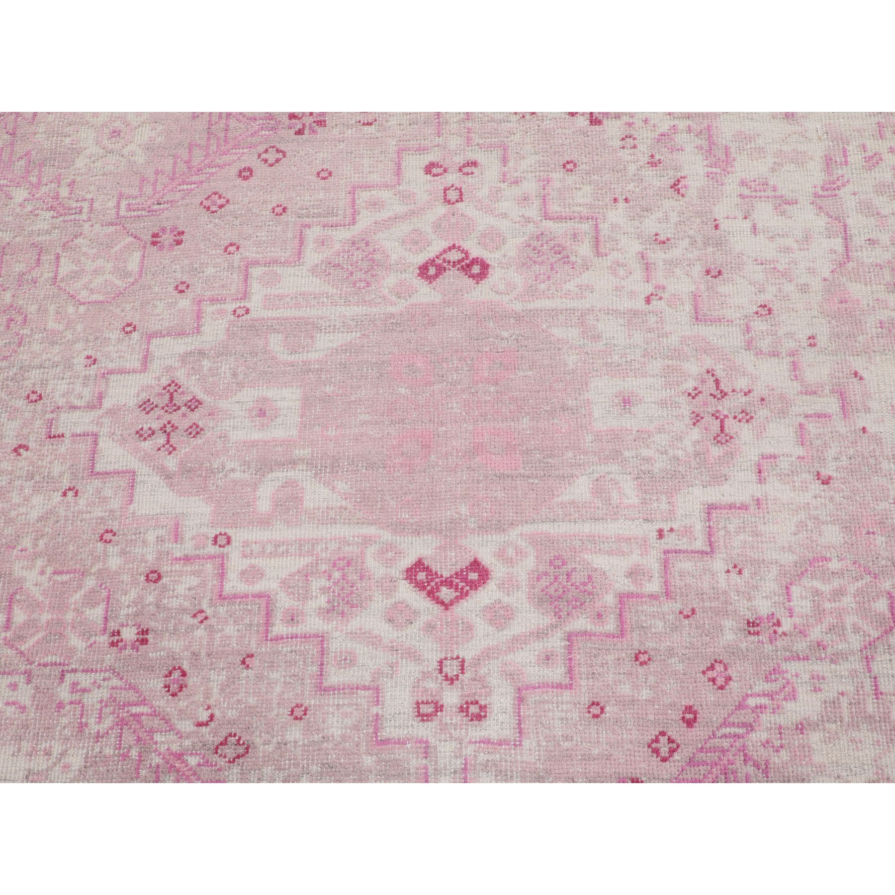 9'x12' Pink Variegated Broken Persian Design Pure Wool Hand Knotted Oriental Rug