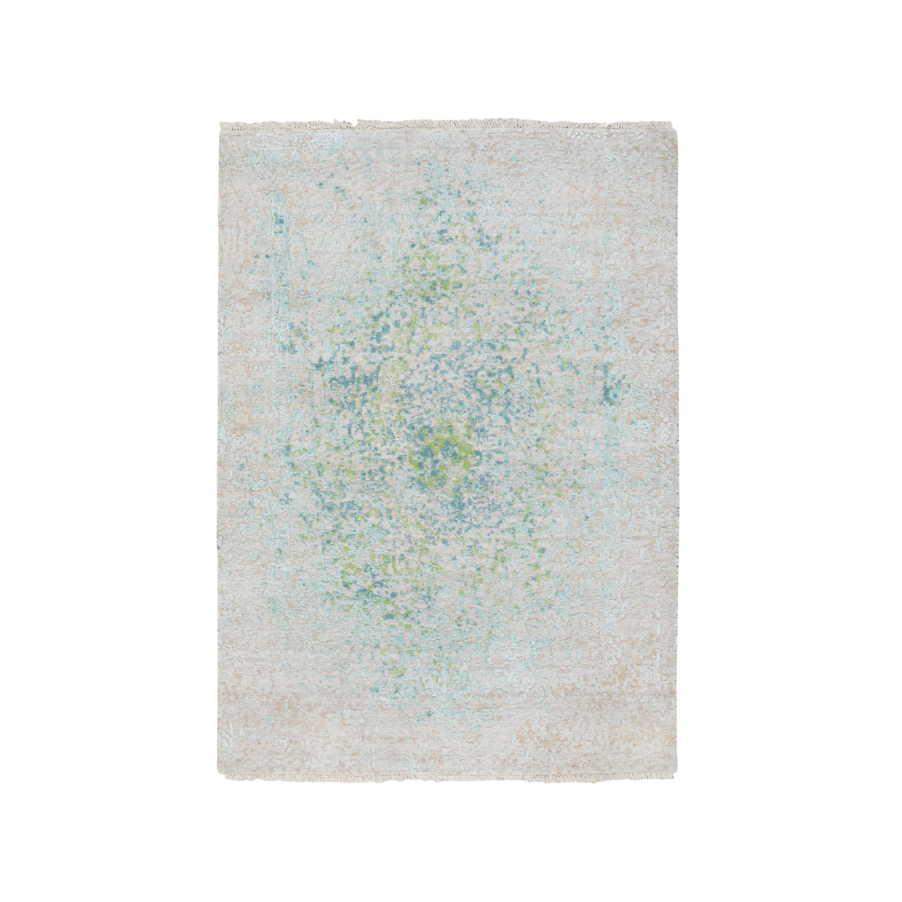 3'x5' Ivory Touch Of Green Pure Silk With Textured Wool Hand Knotted Oriental Rug