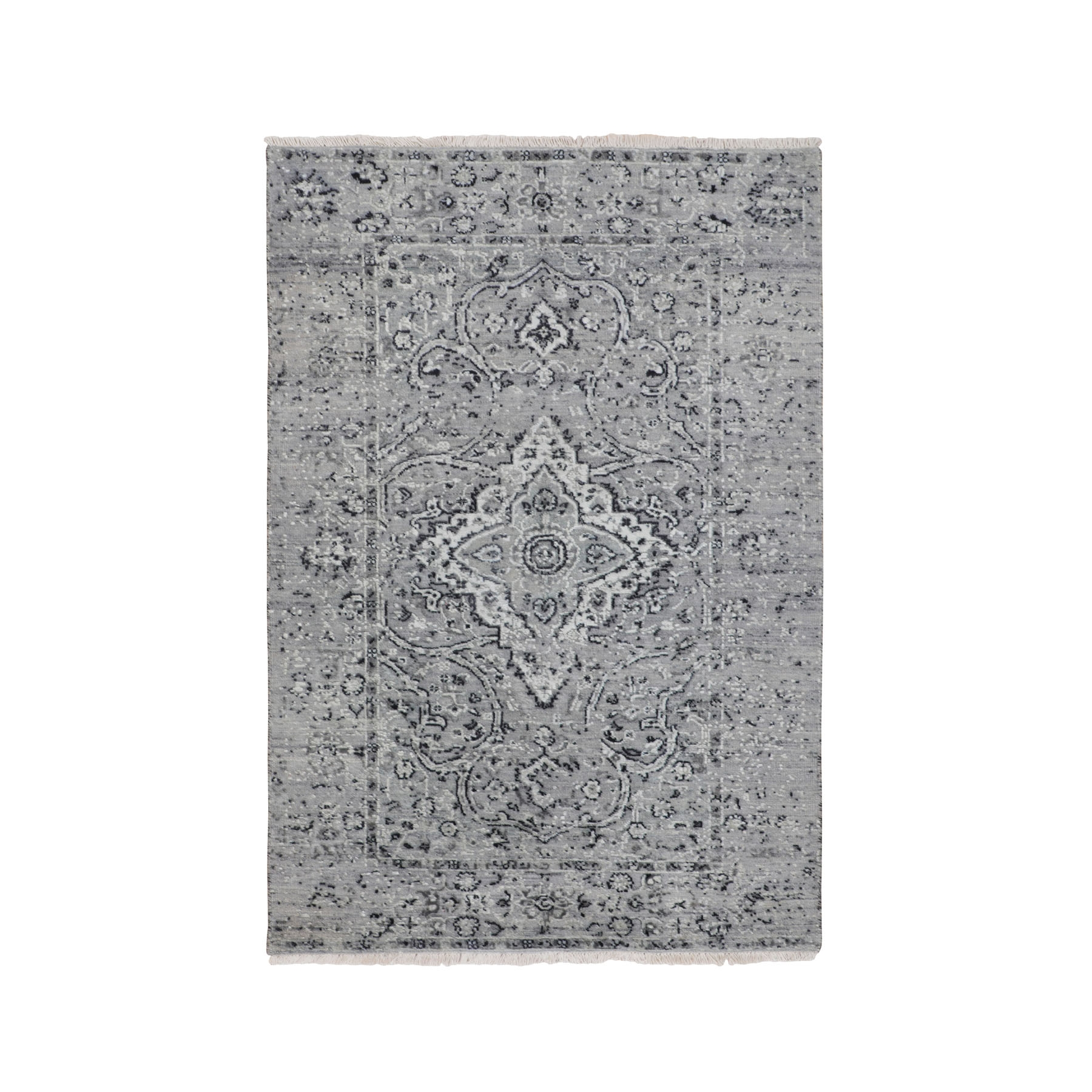 "3'1""x5'1"" Gray Persian Erased Design Silk With Textured Wool Hand Knotted Oriental Rug"