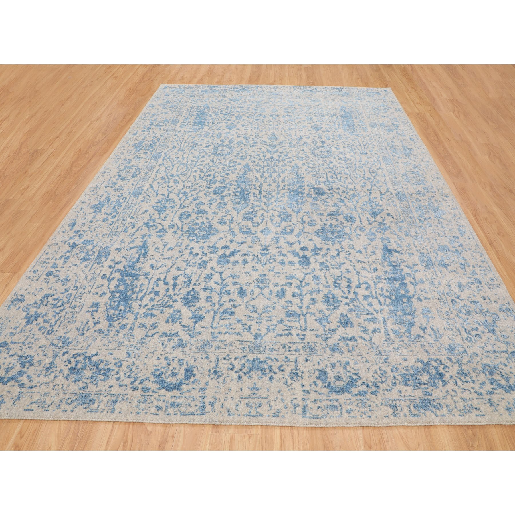 8-10 x12-2  Blue Fine Broken Cypress Tree Design Wool And Art Silk Thick Hand Loomed Oriental Rug