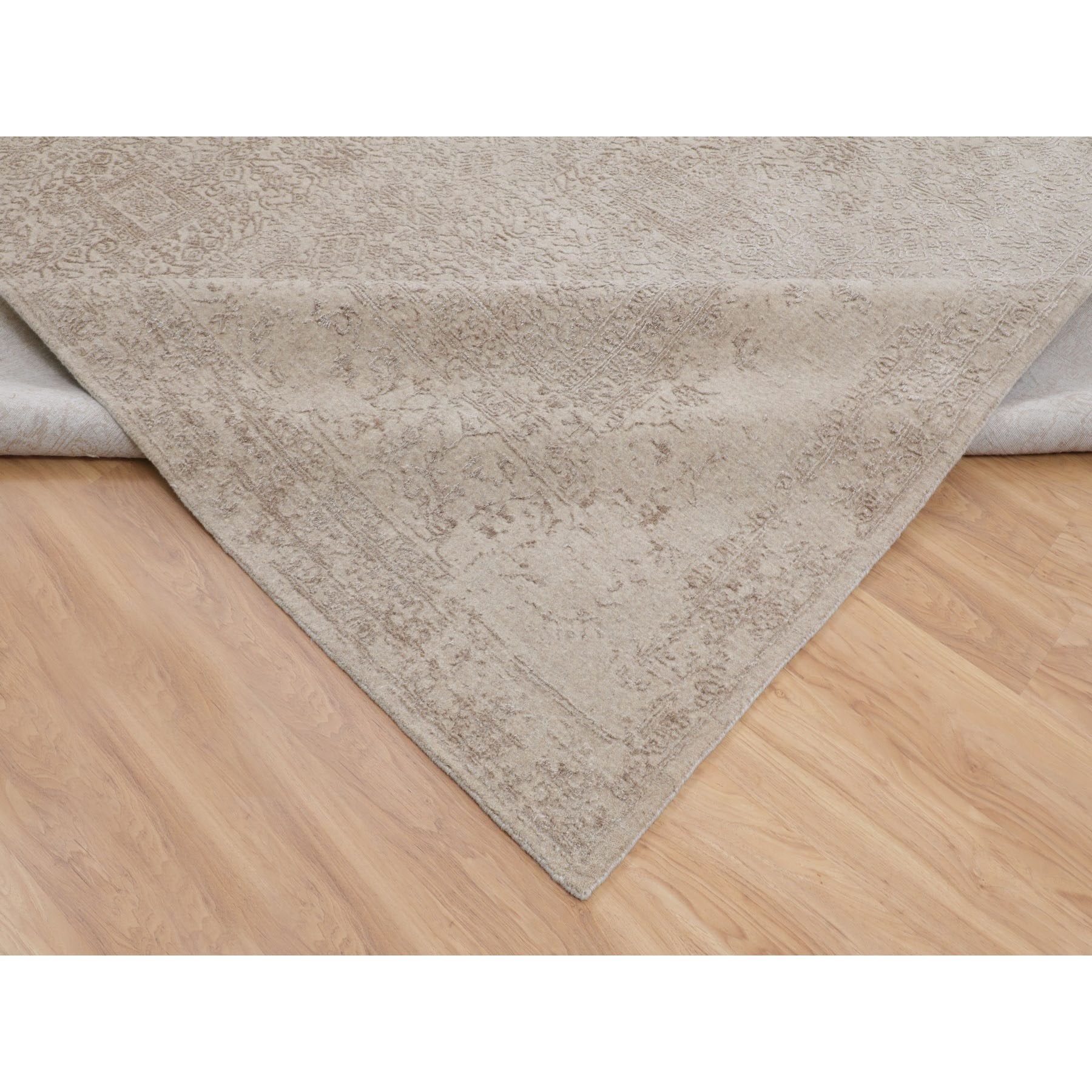 "11'8""x14'8"" Oversized Taupe Fine Jacquard Hand Loomed Modern Wool And Art Silk Oriental Rug"