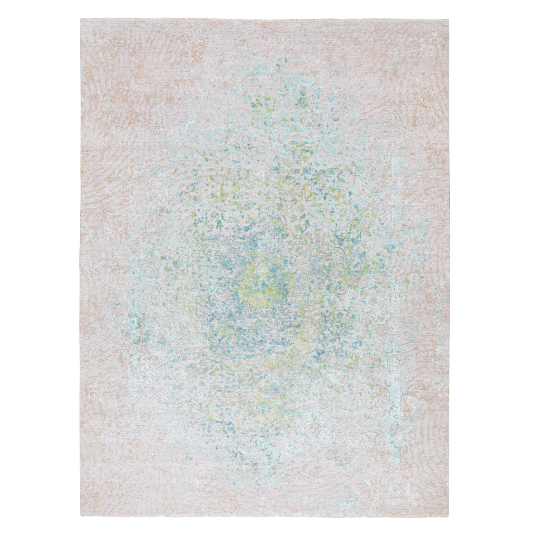 "10'2""x14' Ivory Touch Of Green Pure Silk With Textured Wool Hand Knotted Oriental Rug"