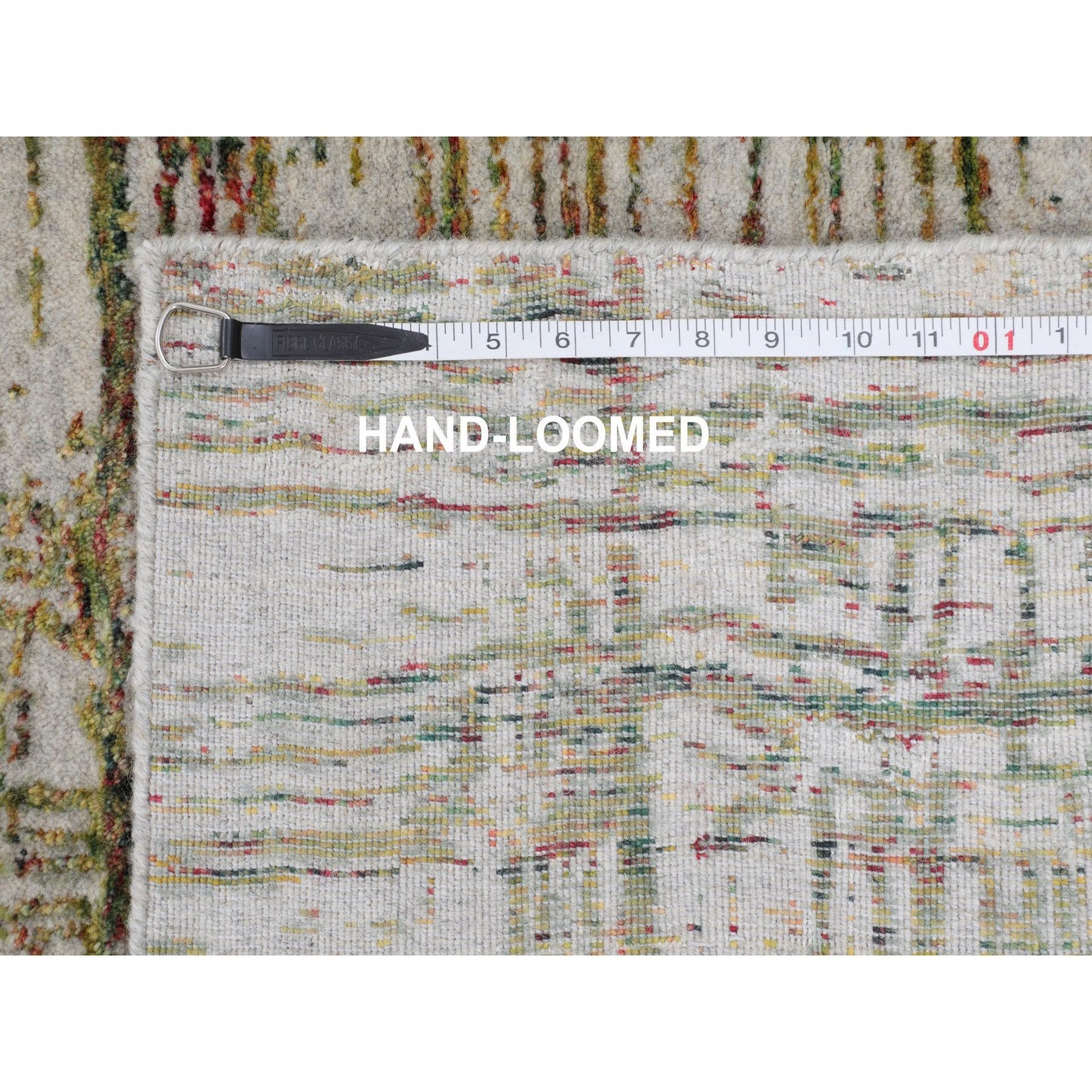 2-6 x11-9  Gray Fine jacquard Modern Wool and Art Silk Runner Hand Loomed Oriental Rug