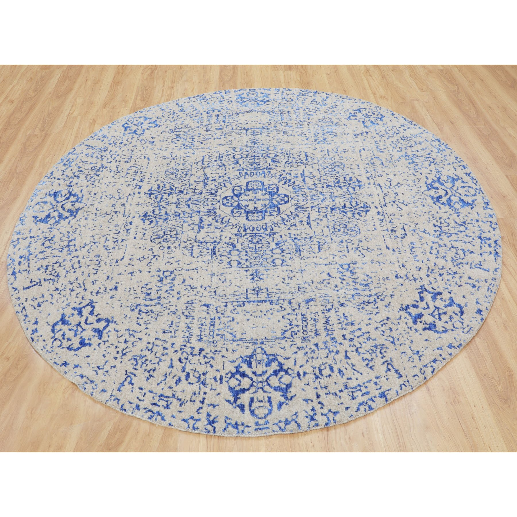 8-x8- Blue Wool and Silk Mamluk Design Jacquard Hand Loomed Round Oriental Rug
