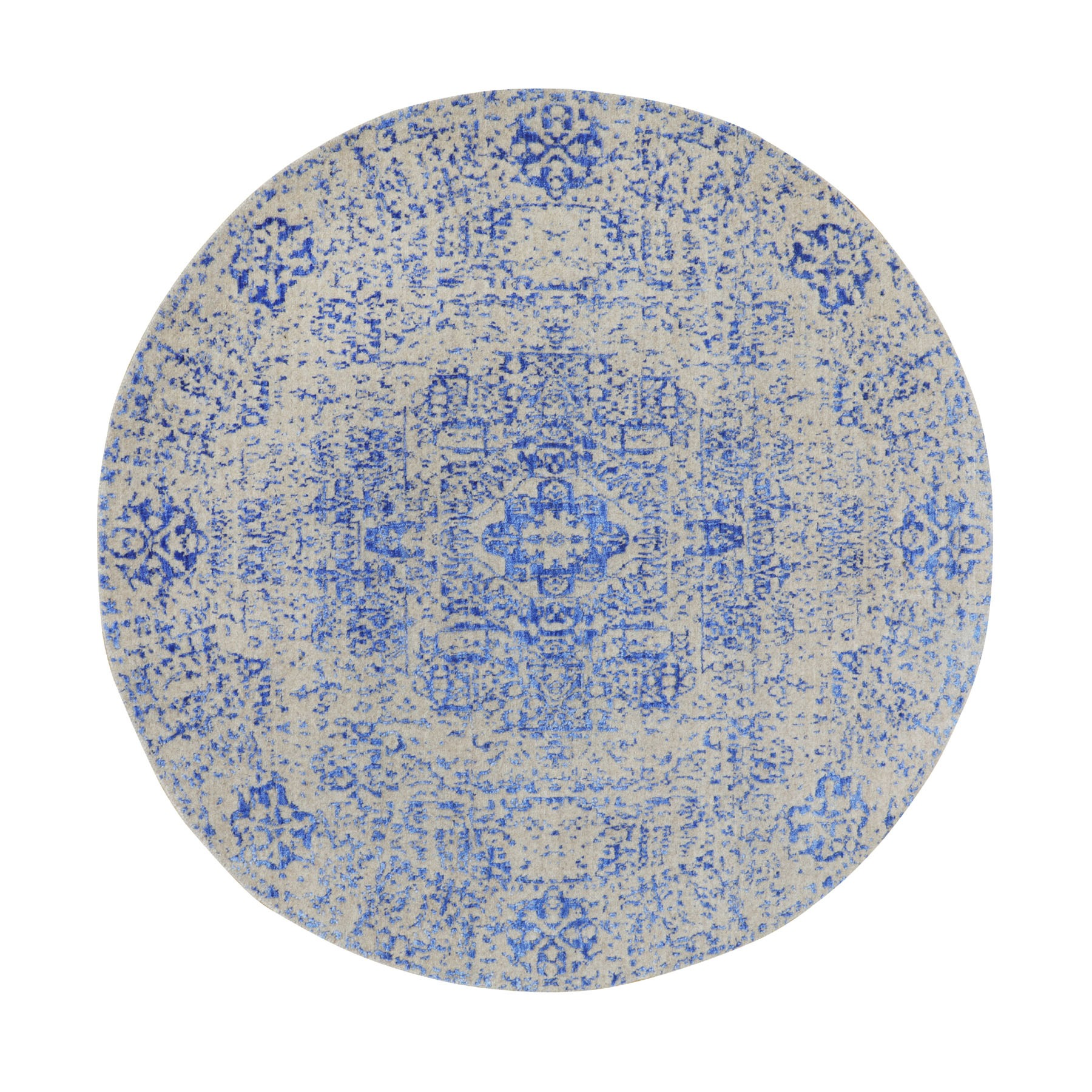 "5'8""x5'8"" Blue Wool and Silk Mamluk Design Jacquard Hand Loomed Round Oriental Rug"