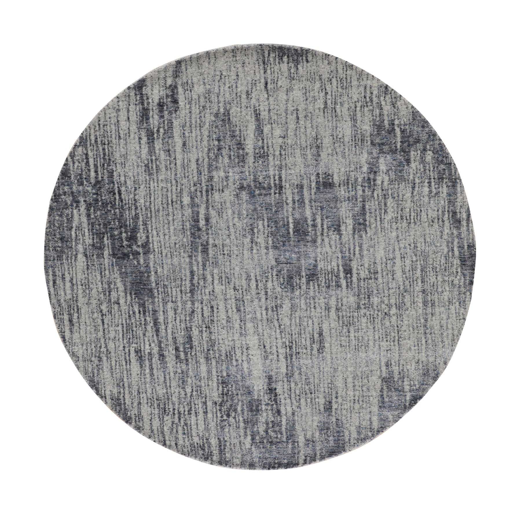 "5'9""x5'9"" Gray Fine jacquard Hand Loomed Modern Round Wool and Art Silk Oriental Rug"