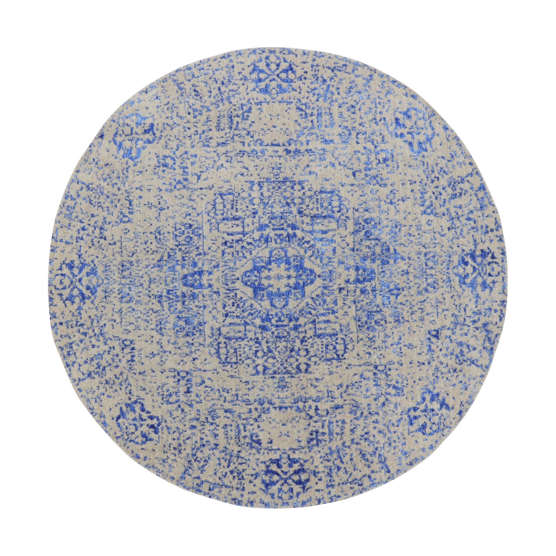 "5'9""x5'9"" Blue Wool and Silk Mamluk Design Jacquard Hand Loomed Round Oriental Rug"