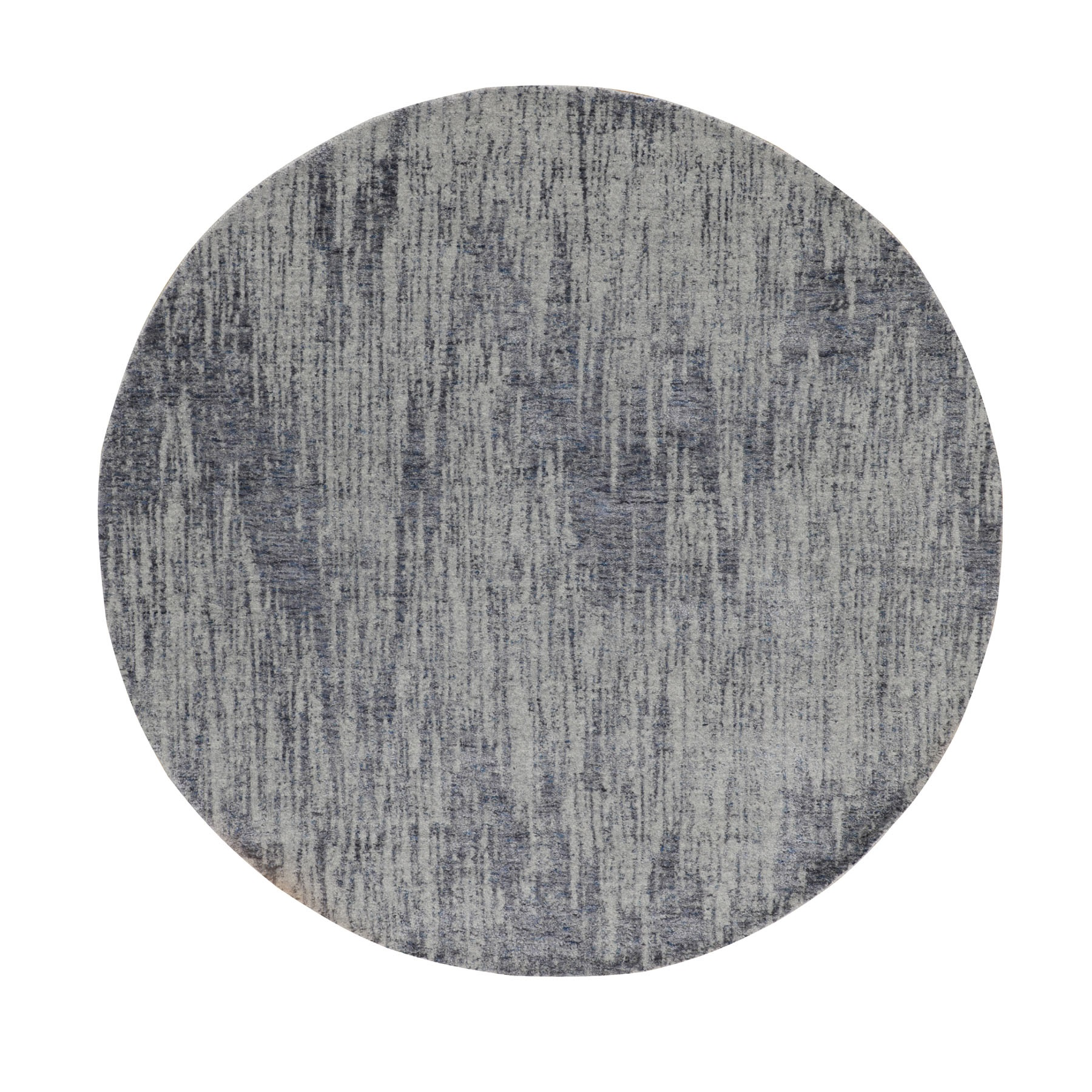 "5'9""x5'9"" Gray Fine jacquard Hand Loomed Modern Wool and Art Silk Round Oriental Rug"
