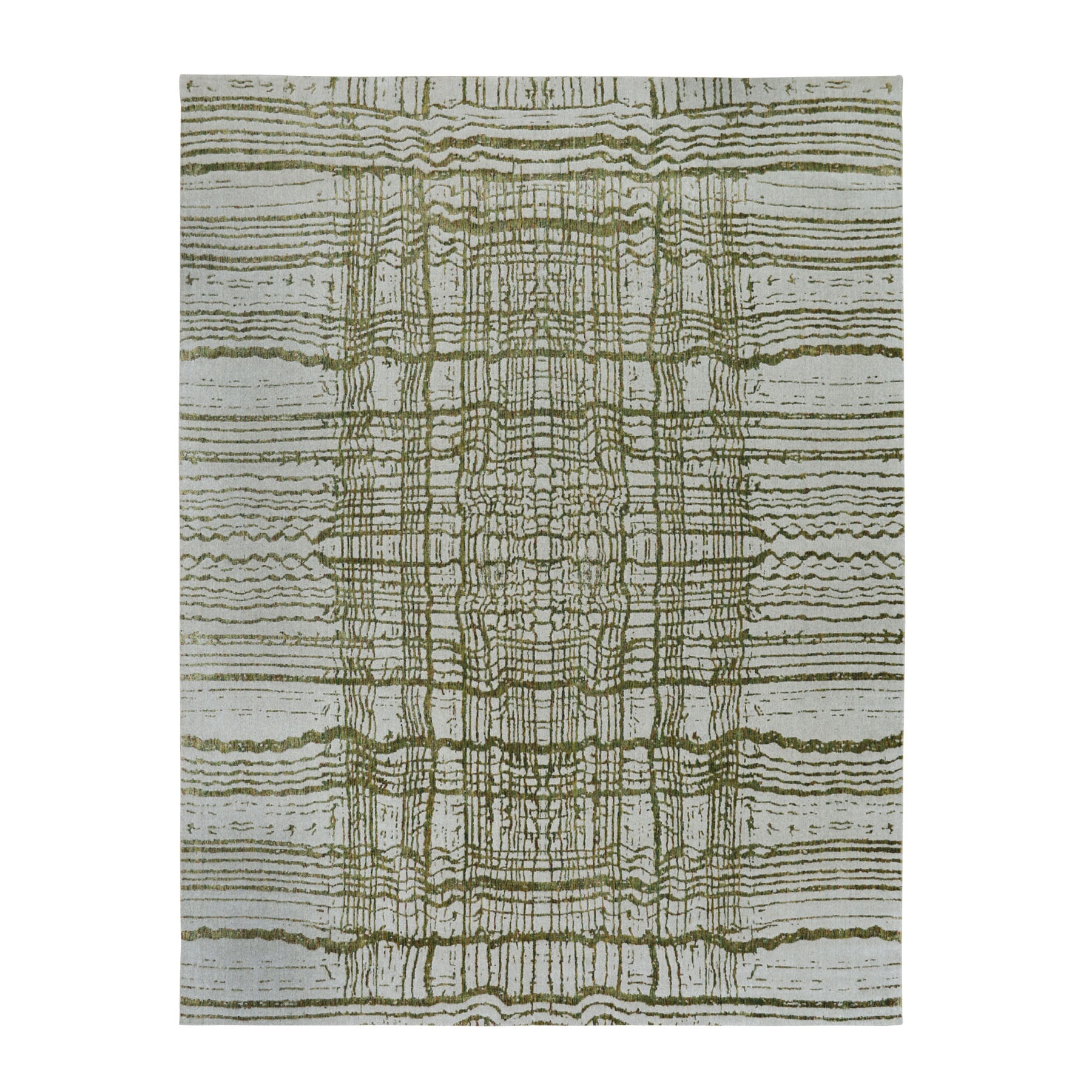 "11'9""x14'8"" Oversized Green Fine jacquard Hand Loomed Modern Wool and Art Silk Oriental Rug"