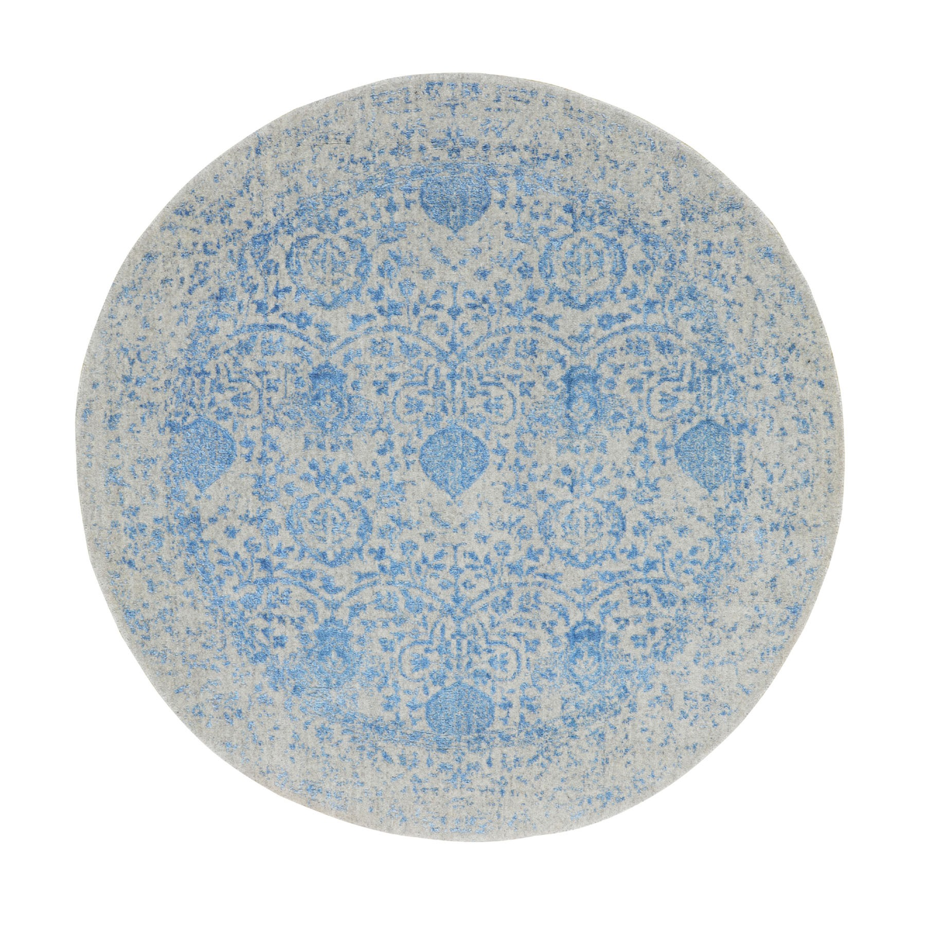 "5'9""x5'9"" Blue Jacquard Hand Loomed Wool and Art Silk Pomegranate Design Round Oriental Rug"