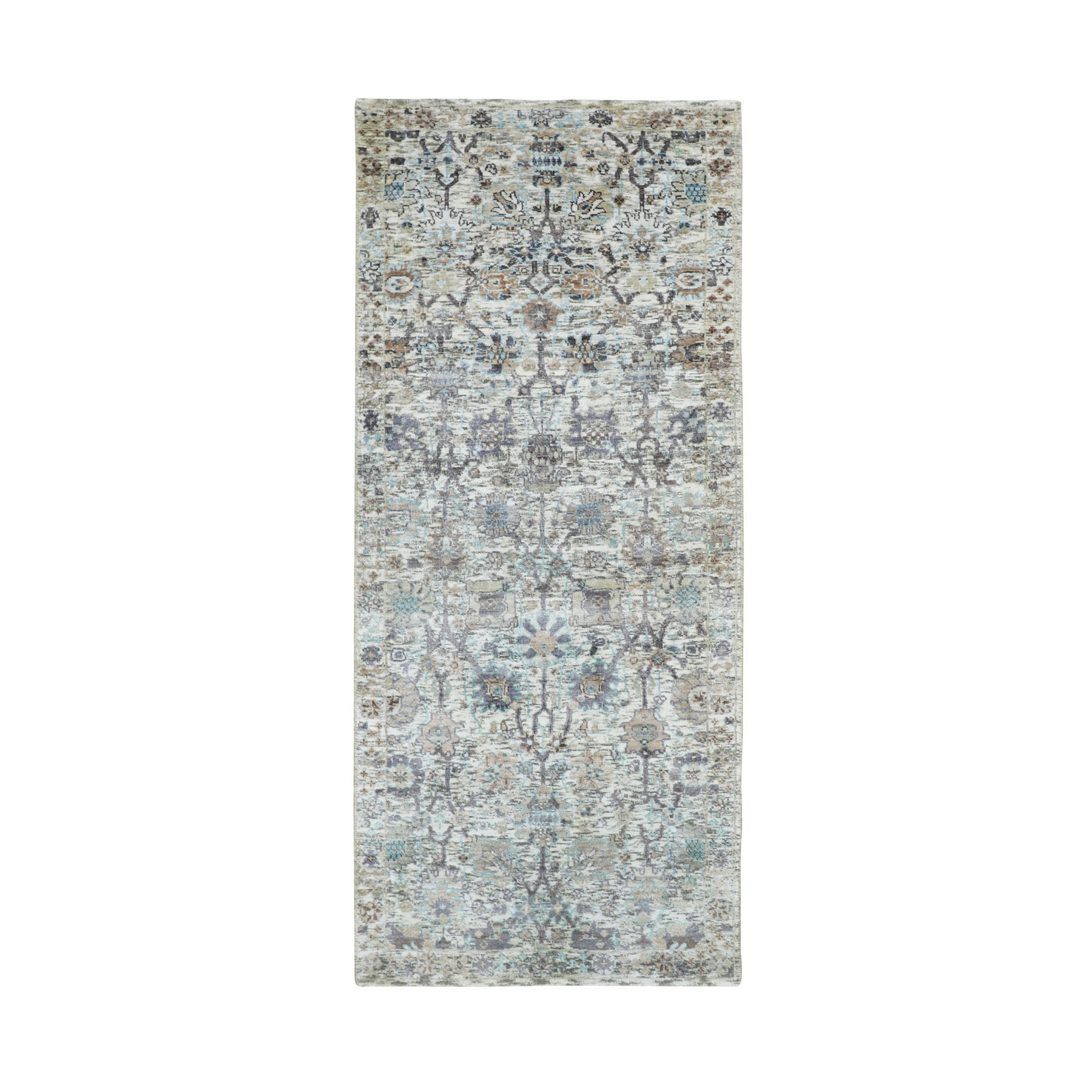 "2'6""X6'2"" Ivory Silk With Textured Wool Tabriz Runner Hand Knotted Oriental Rug moae8ae0"