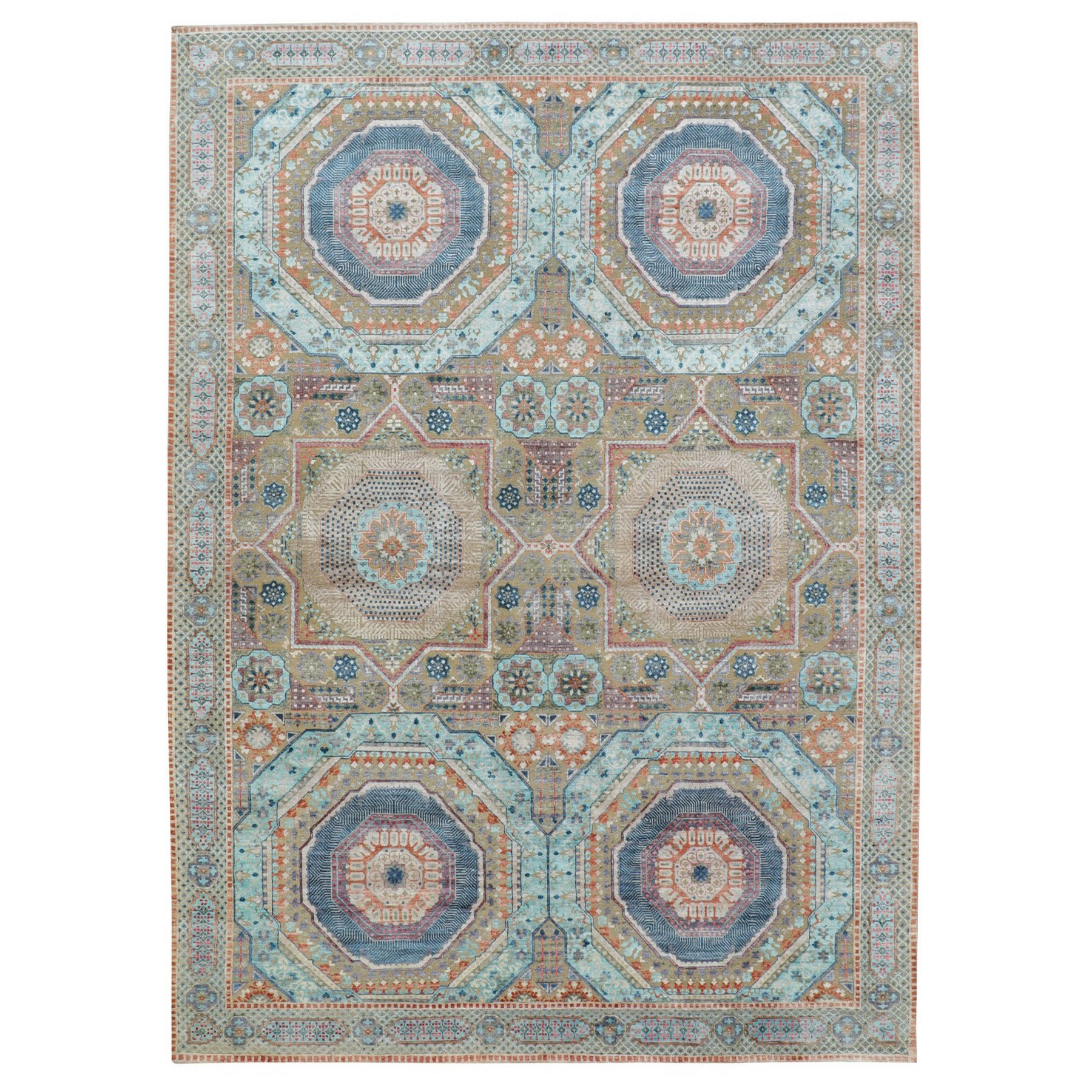 "8'8""X12' Silk With Textured Wool Mamluk Design Hand Knotted Oriental Rug moae8aed"
