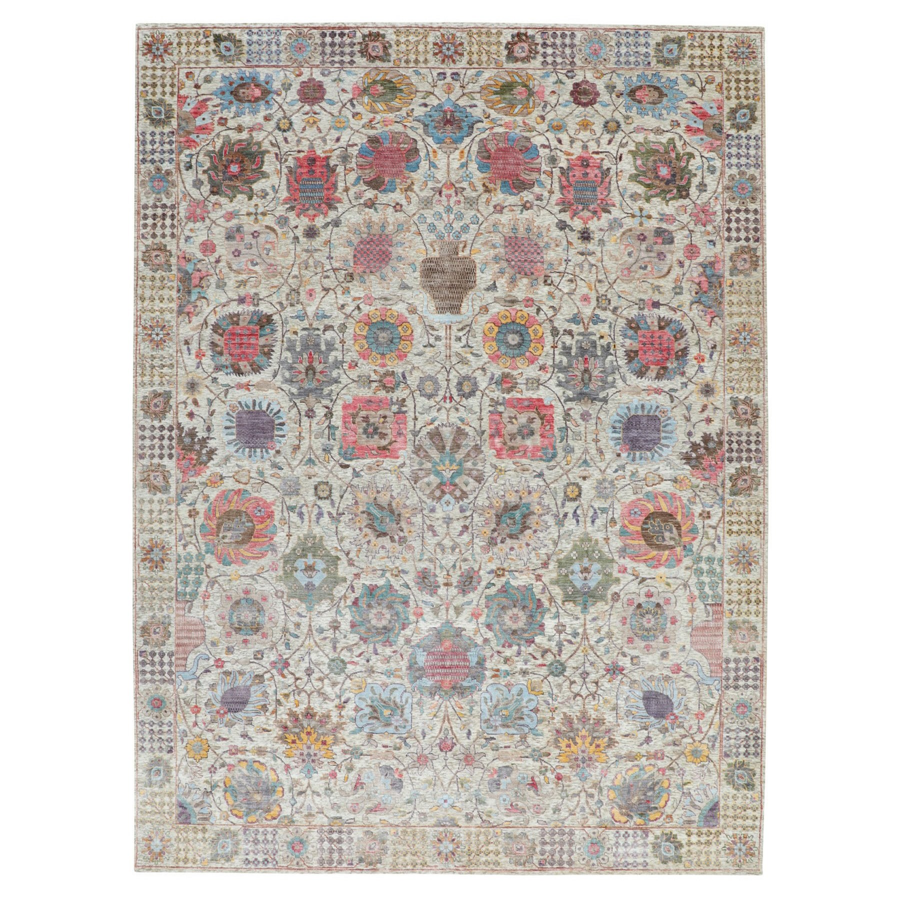 "9'1""X12'2"" Colorful Silk With Textured Wool Tabriz Hand Knotted Oriental Rug moae8aee"