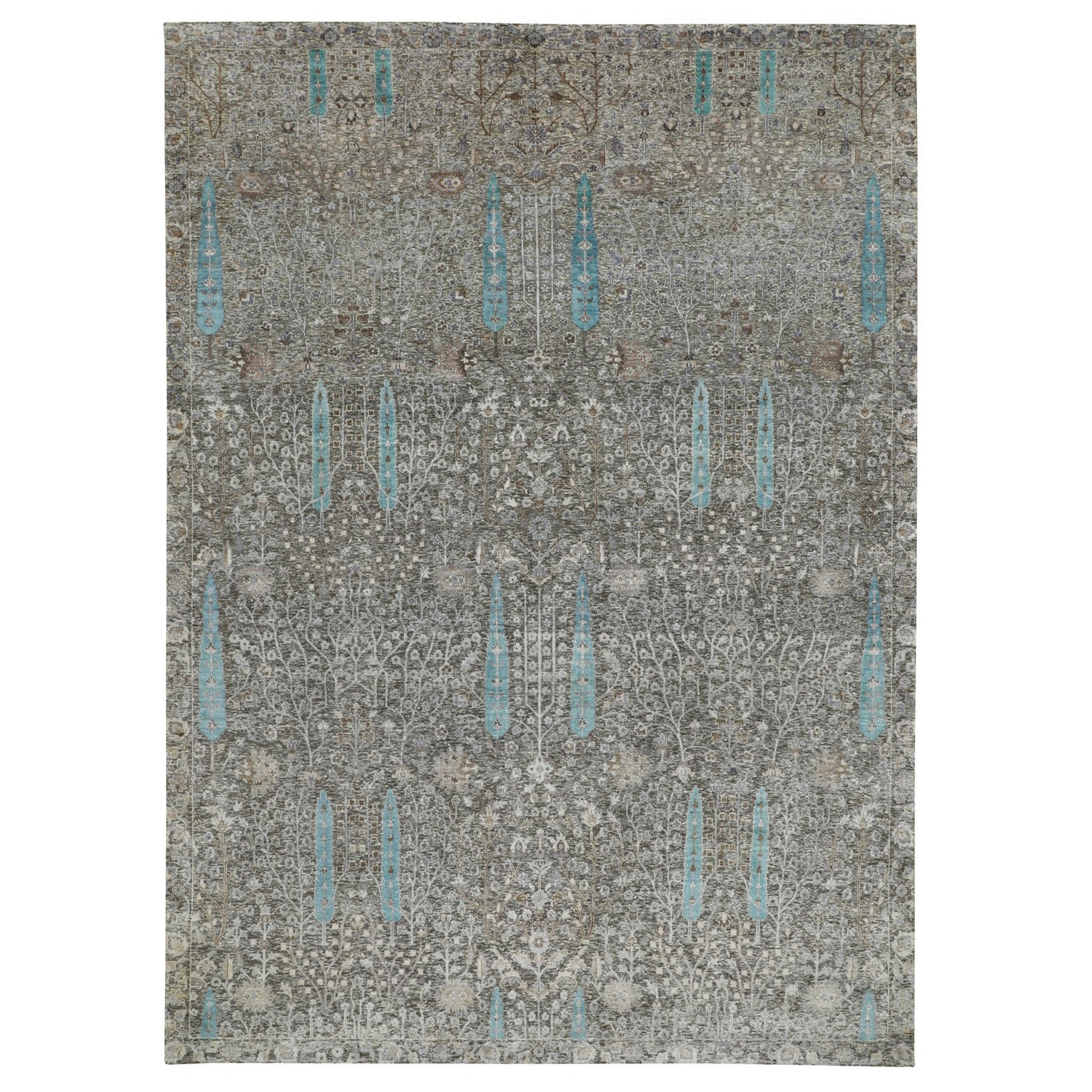 "10'X14'1"" Cypress Tree Design Silk With Textured Wool Hand Knotted Oriental Rug moae8ae7"