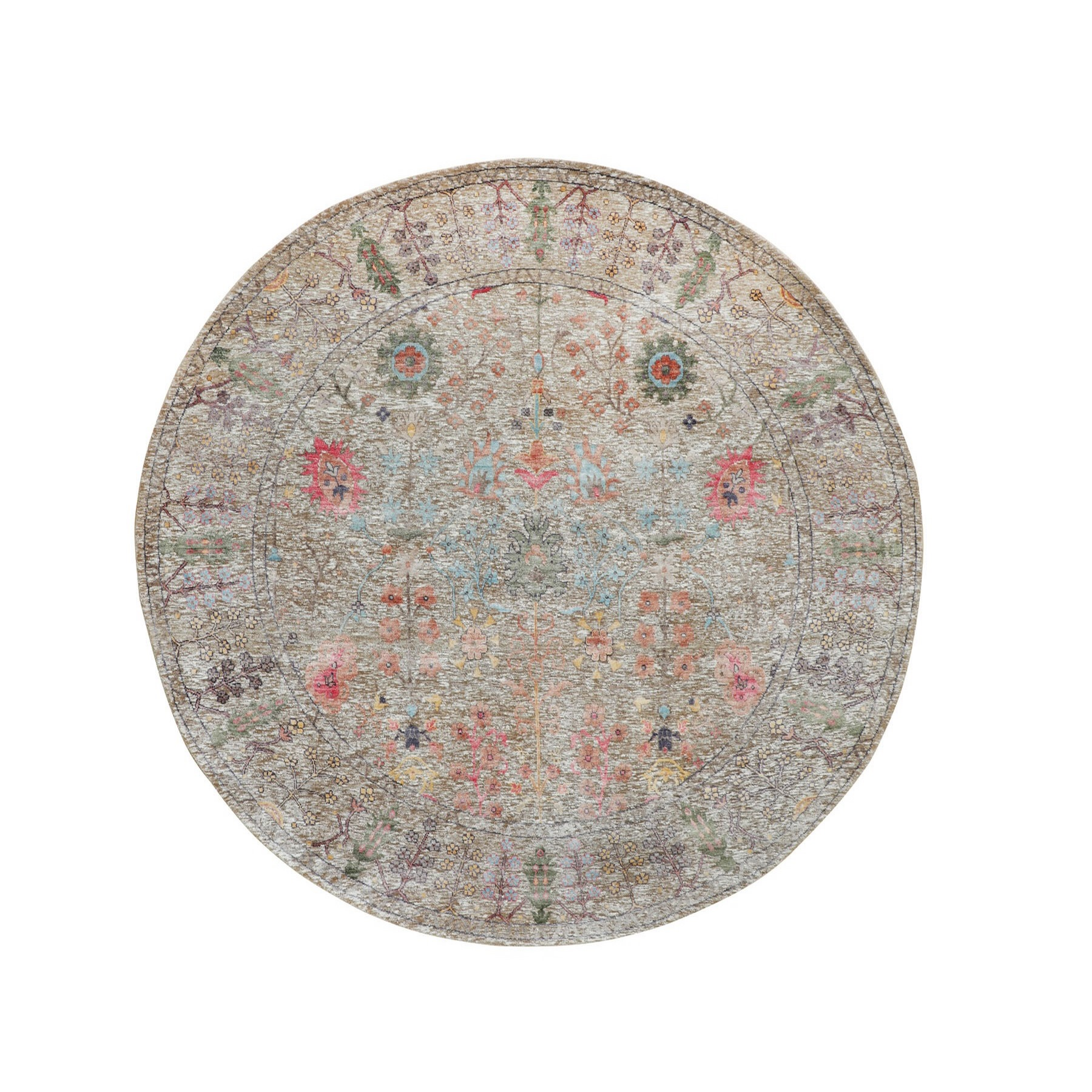 7'X7' Round Beige Silk With Textured Wool Vaze Design Hand Knotted Oriental Rug moae8ae9