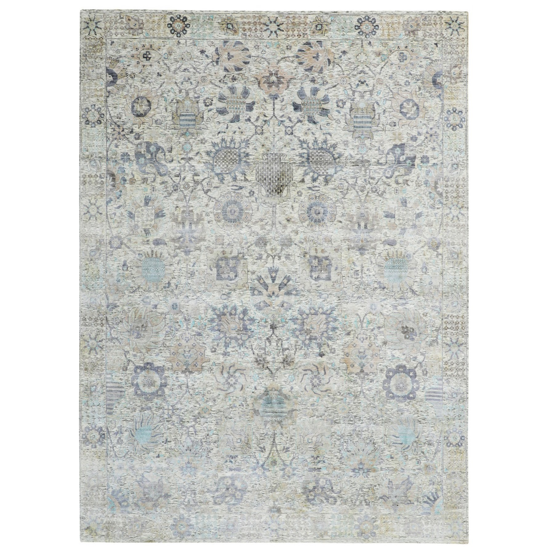 "9'x11'10"" Ivory Silk With Textured Wool Tabriz Hand Knotted Oriental Rug"
