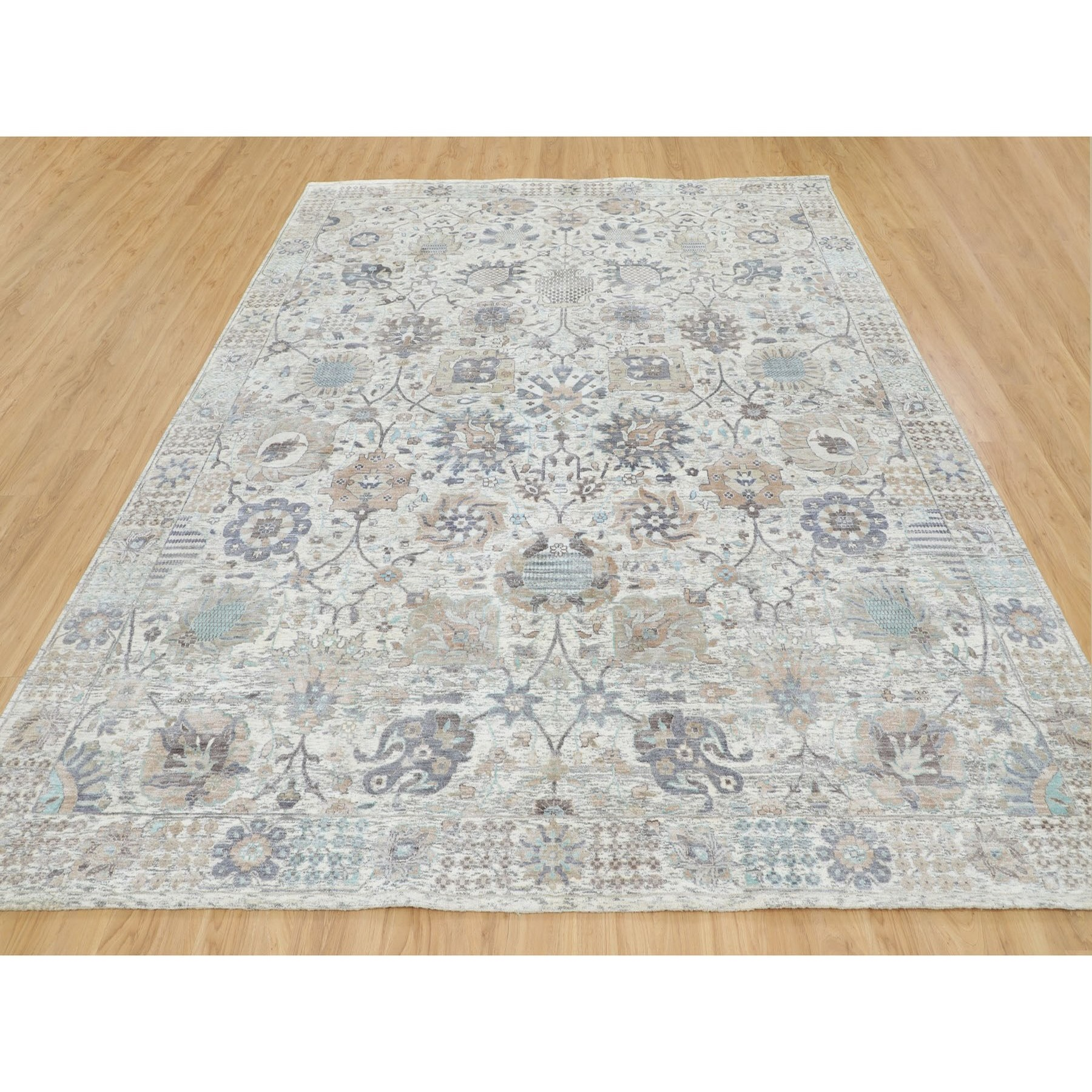 """9'x11'10"""" Ivory Silk With Textured Wool Tabriz Hand Knotted Oriental Rug"""