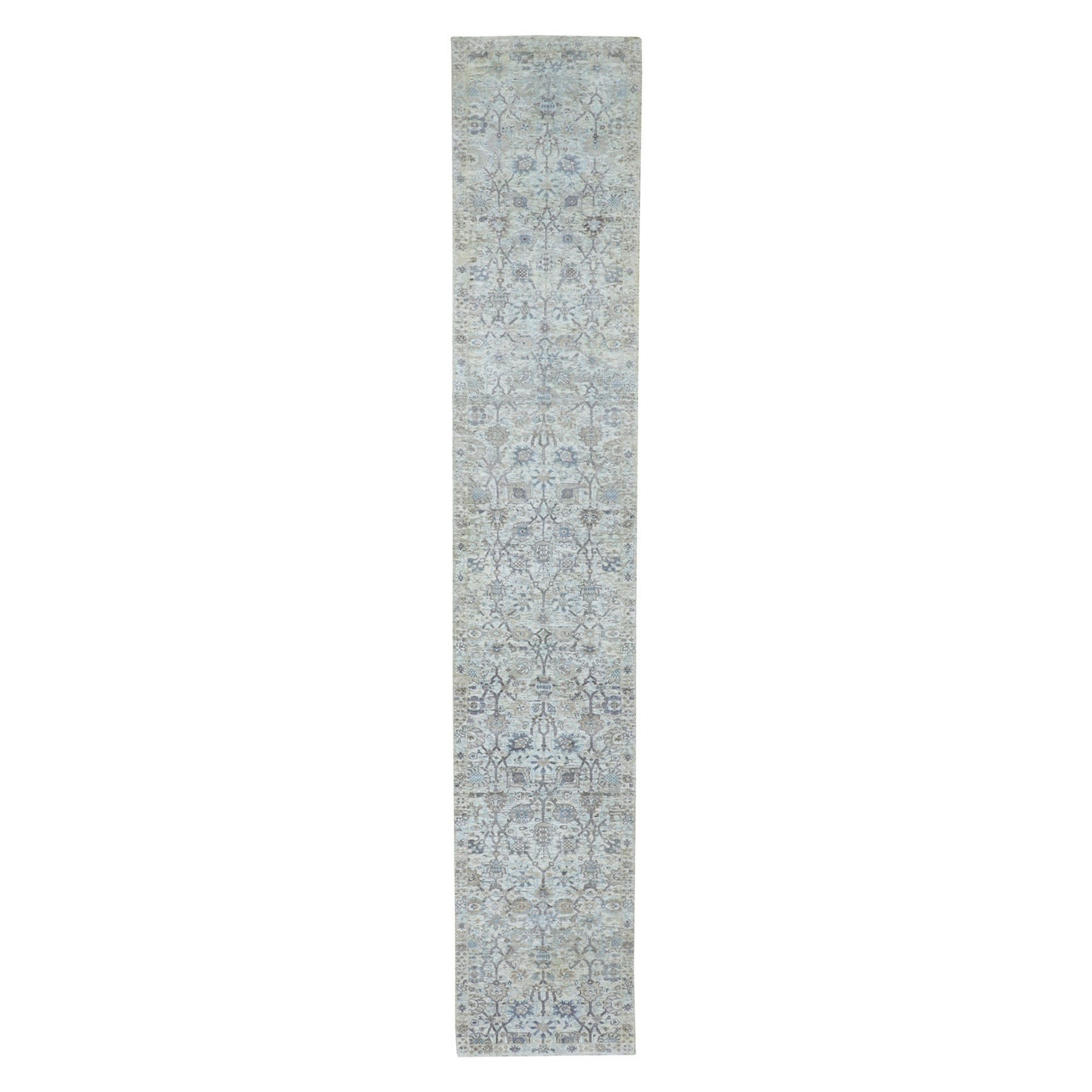 """2'6""""X16' Ivory Silk With Textured Wool Tabriz Xl Runner Hand Knotted Oriental Rug moae8a6c"""