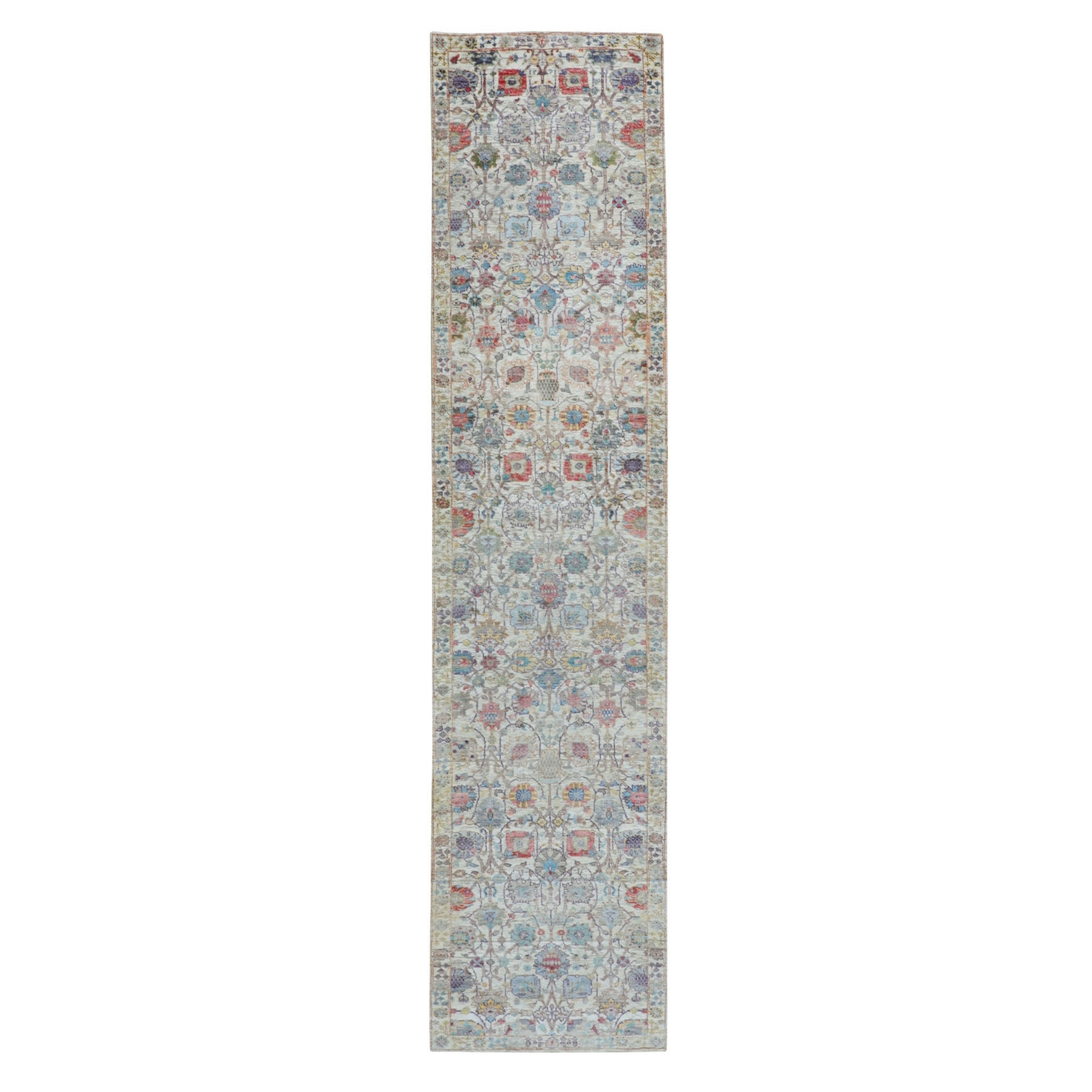 """2'7""""X12'  Colorful Silk With Textured Wool Tabriz Runner Hand Knotted Oriental Rug moae8a6d"""
