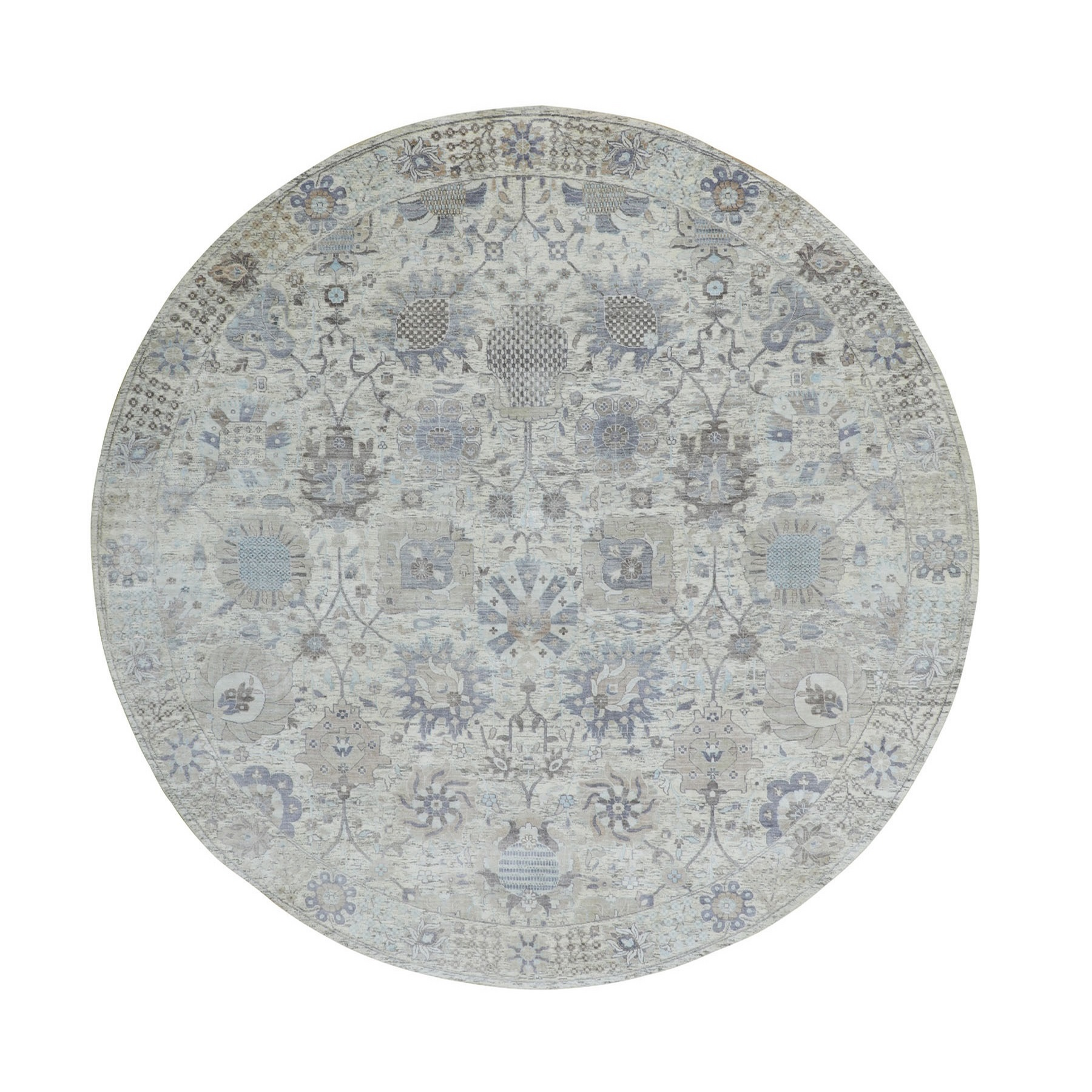 10'X10' Round Ivory Silk With Textured Wool Tabriz Hand Knotted Oriental Rug moae8a6e