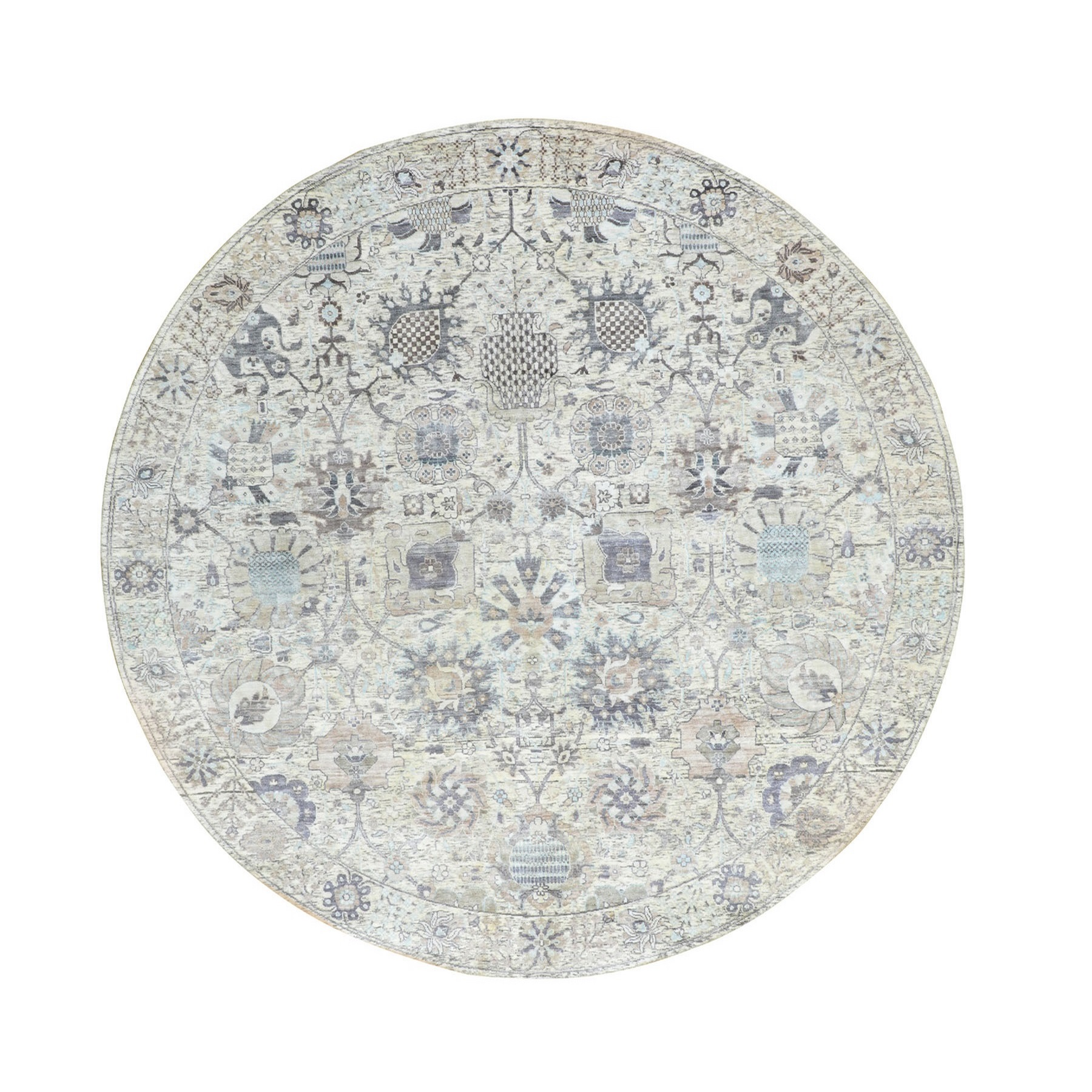 """8'1""""X8'1"""" Round Ivory Silk With Textured Wool Tabriz Hand Knotted Oriental Rug moae8a70"""
