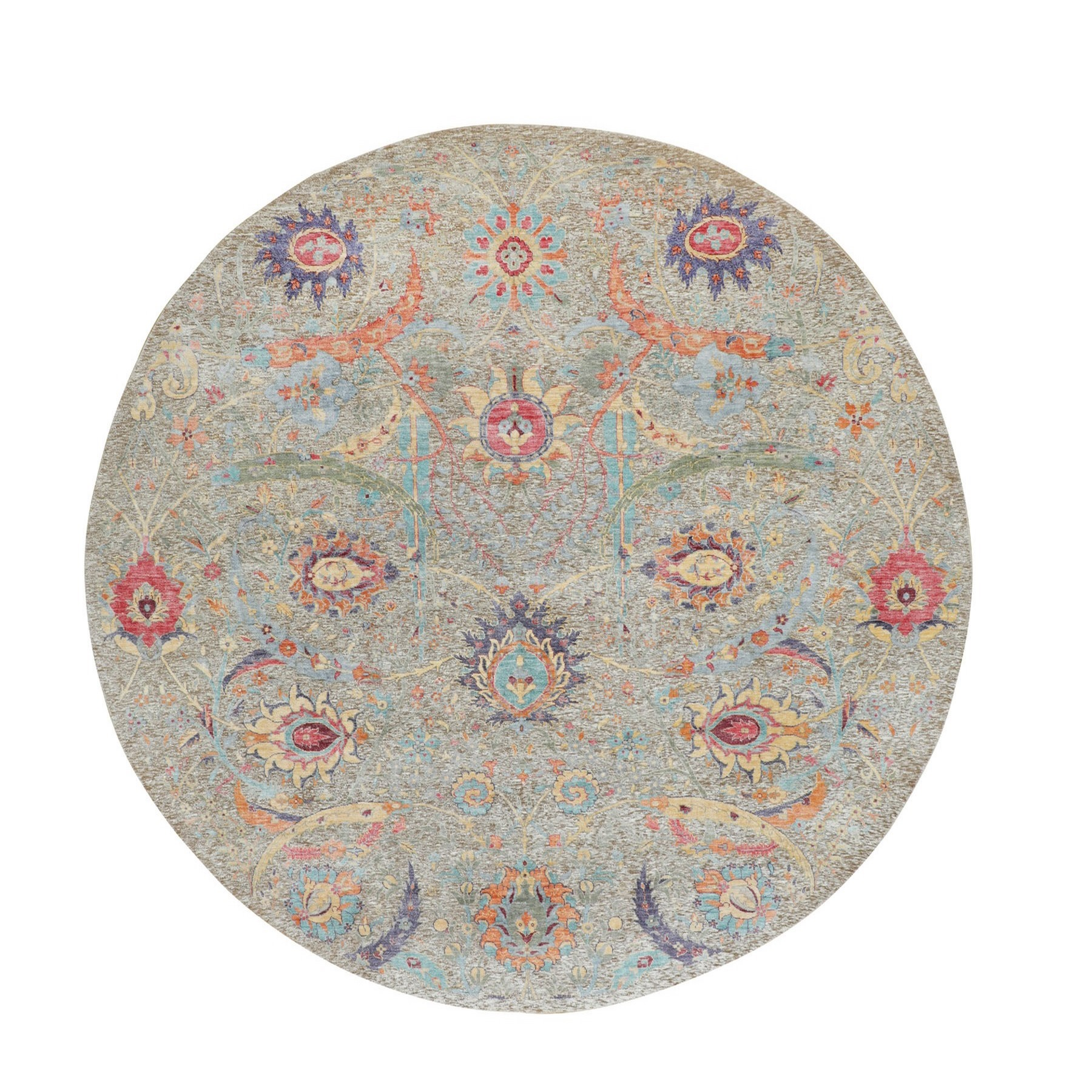 """8'10""""X8'10"""" Round Sickle Leaf Design Silk With Textured Wool Hand Knotted Oriental Rug moae8a7b"""