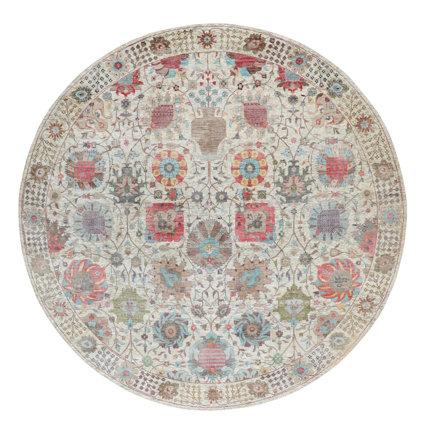 10'X10' Round Colorful Silk With Textured Wool Tabriz Hand Knotted Oriental Rug moae8a7d
