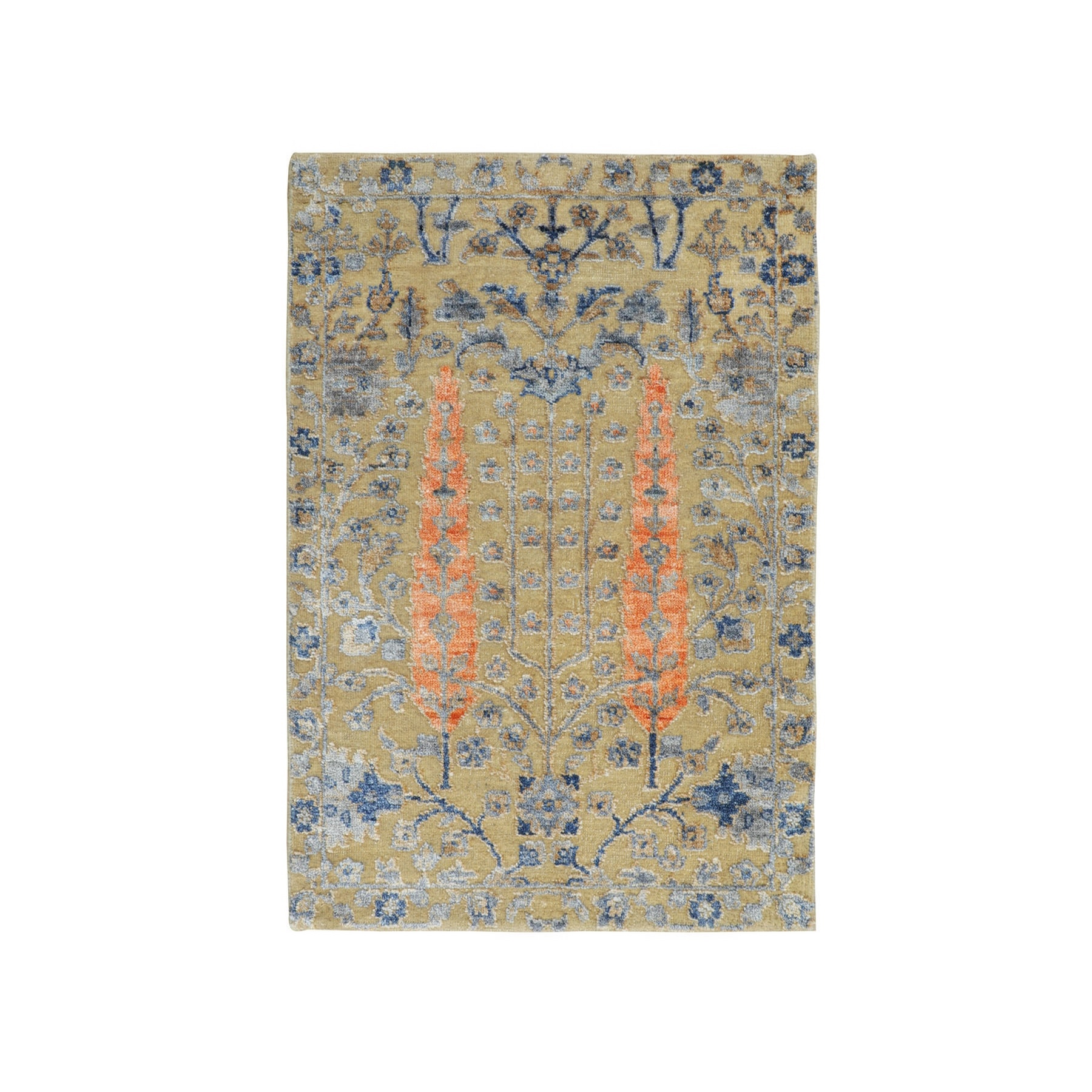 """2'1""""X3' Cypress Tree Design Silk With Textured Wool Hand Knotted Oriental Rug moae8a77"""