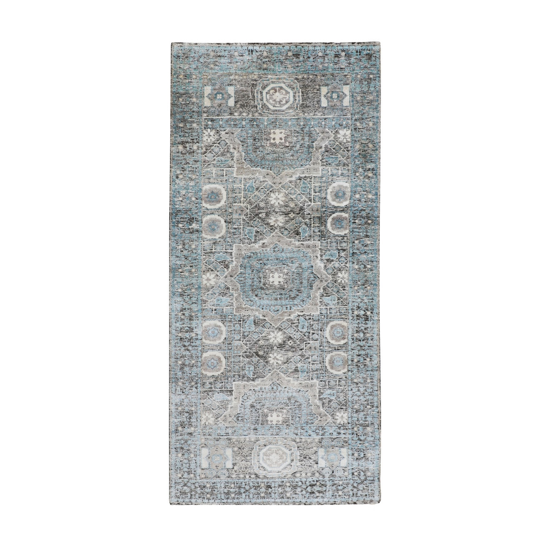 """2'8""""x6'1"""" Silk With Textured Wool Hi-Low Pile Mamluk Design Runner Hand Knotted Oriental Rug"""
