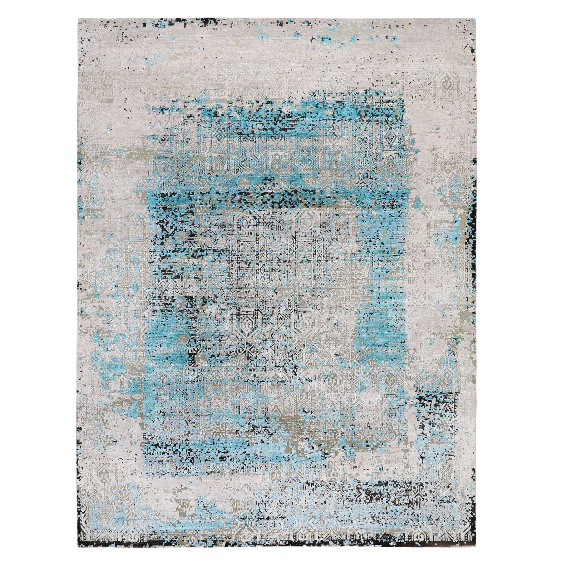 """8'9""""X11'10"""" Teal Blue Jewellery Design Tone On Tone Silk With Textured Wool Hand Knotted Oriental Rug moae8b0a"""