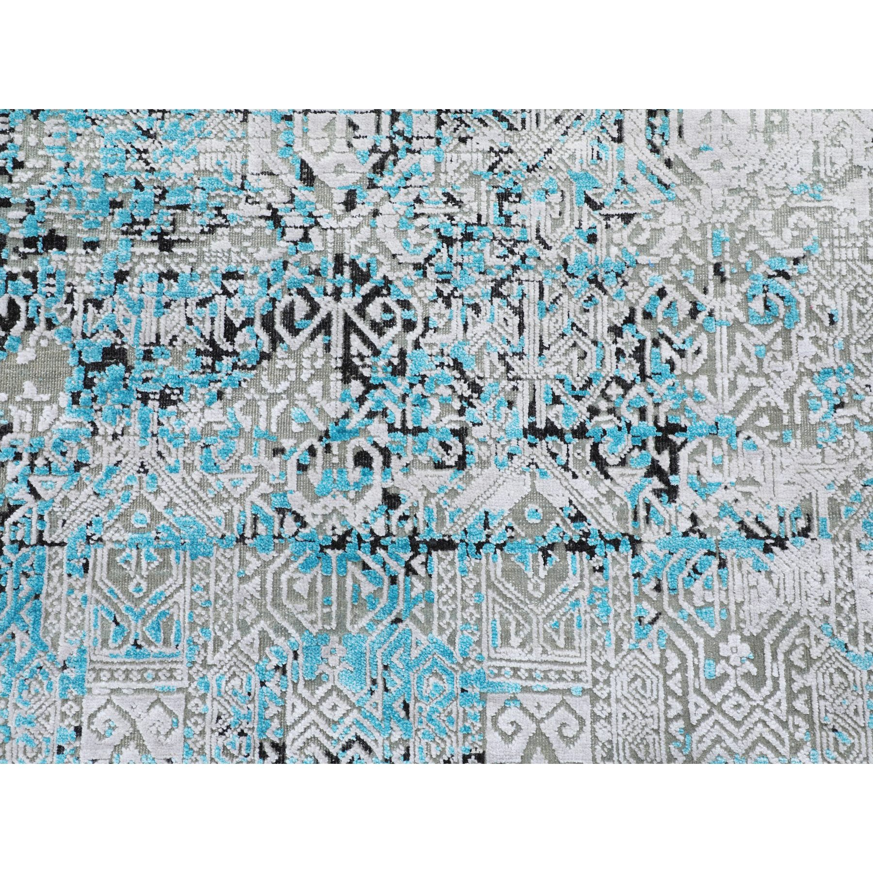 """8'9""""x11'10"""" Teal Blue Jewellery Design Tone On Tone Silk With Textured Wool Hand Knotted Oriental Rug"""