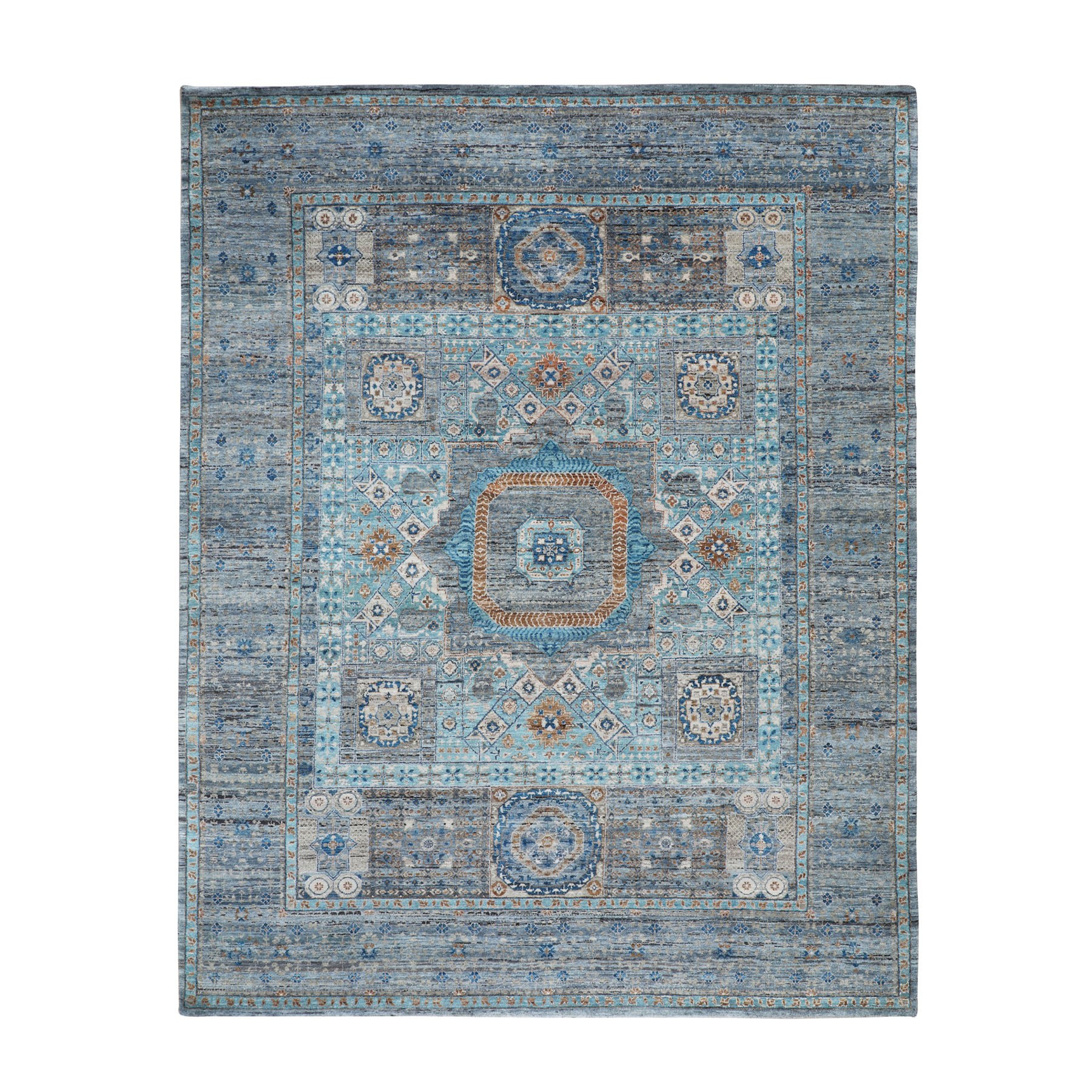"""8'3""""x10'1"""" Blue Pure Wool Mamluk Design hand Knotted Oriental Rug"""