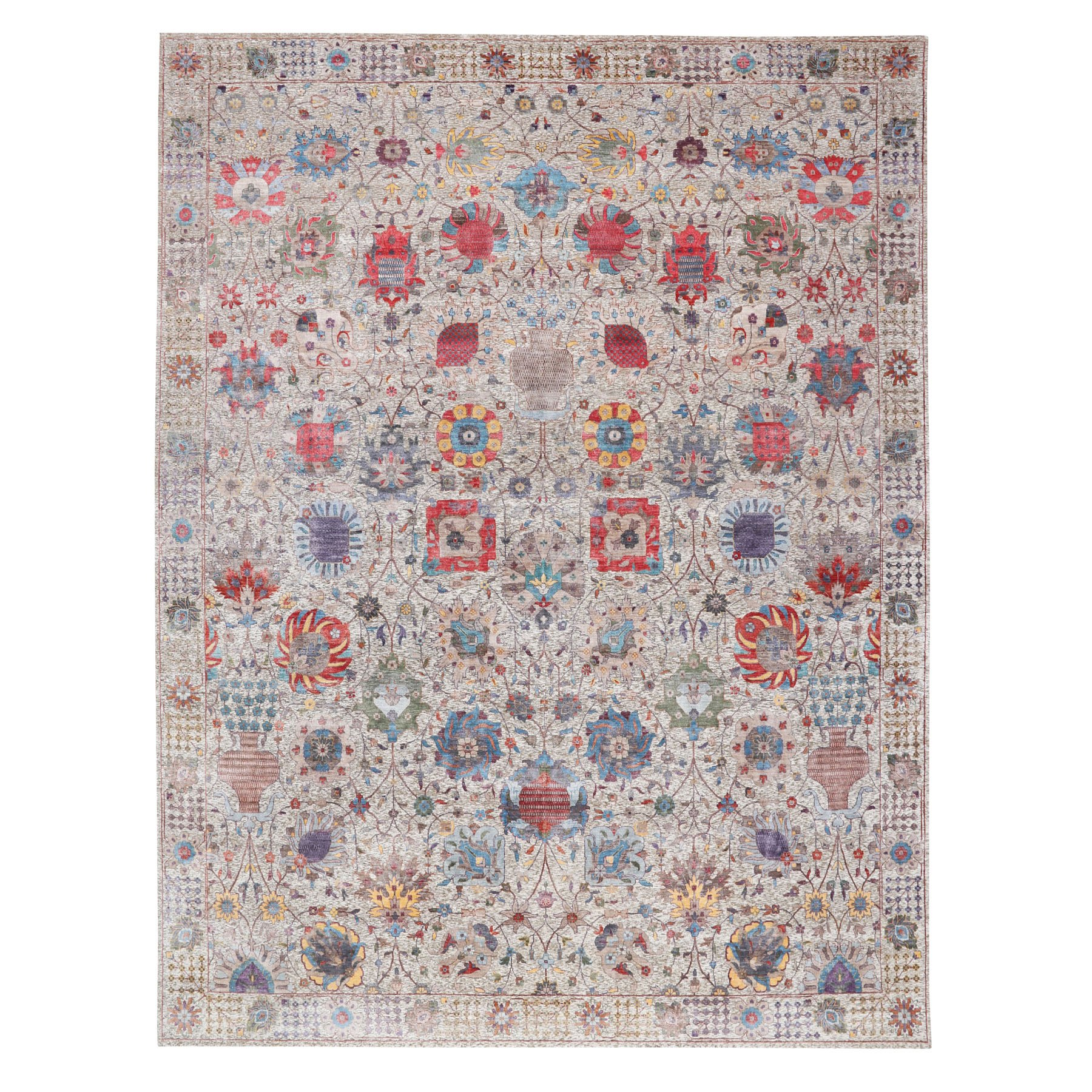 """12'X15'4"""" Oversized Colorful Silk With Textured Wool Tabriz Design Hand Knotted Oriental Rug moae8ba6"""