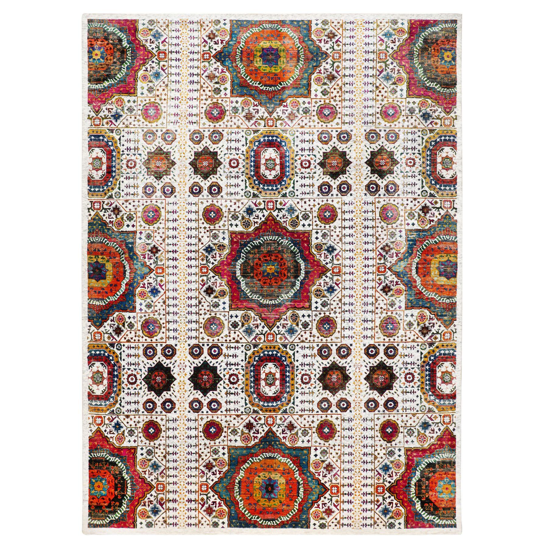 "8'8""x12'1"" Ivory Sari Silk With Textured Wool Mamluk Design Hand Knotted Oriental Rug"