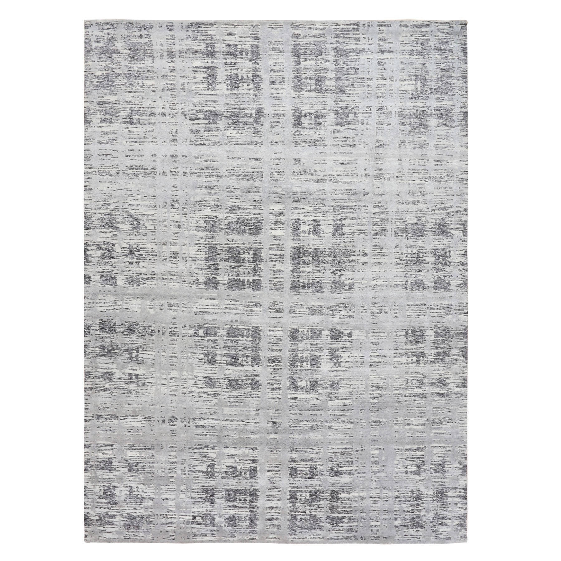 10'X14' Gray Hand Spun Undyed Natural Wool Modern Hand Knotted Oriental Rug moae8bbe