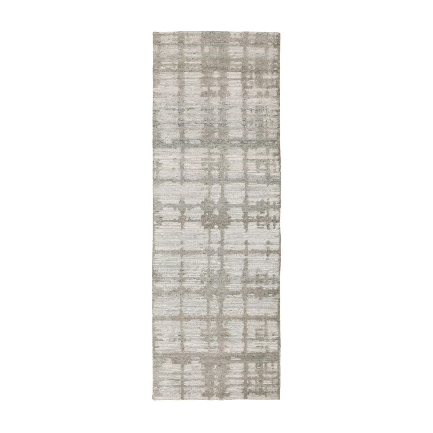 "2'6""X8' Hand Spun Undyed Natural Wool Modern Runner Hand Knotted Oriental Rug moae8bc0"