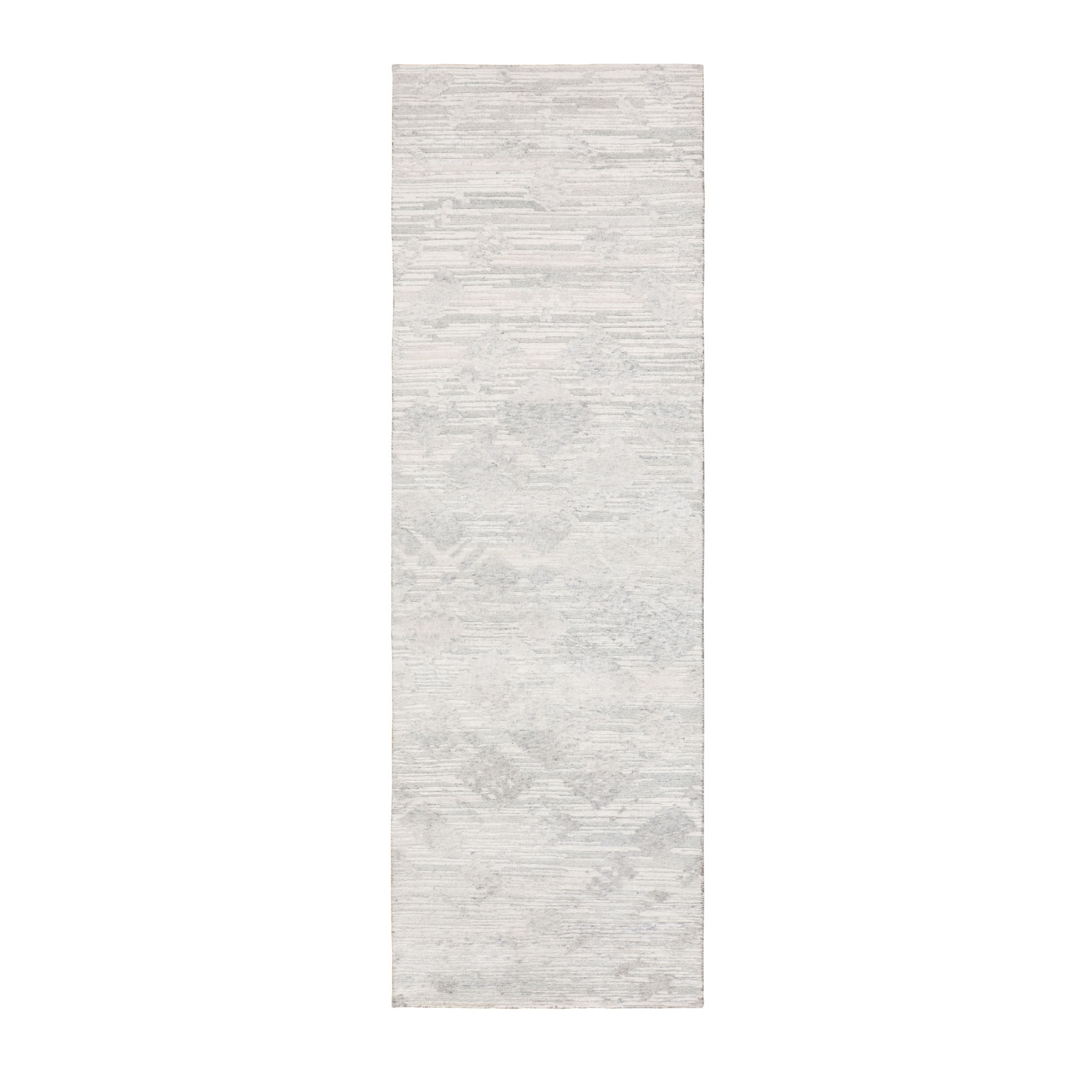 "2'6""X8' Modern Ivory Hand Spun Runner Undyed Natural Wool Hand Knotted Oriental Rug moae8bcc"