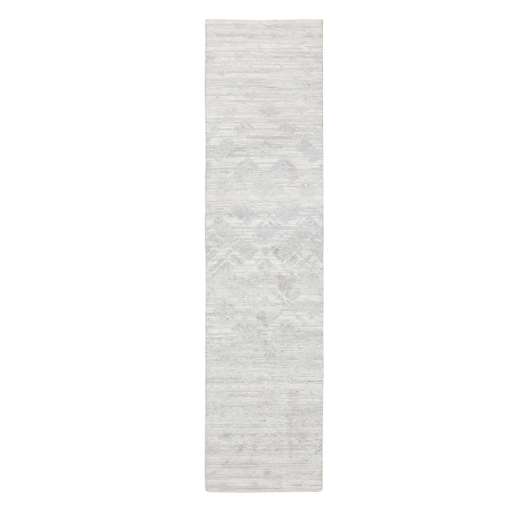 """2'6""""X10'1"""" Ivory Hand Spun Undyed Natural Wool Modern Runner Hand Knotted Oriental Rug moae8bce"""