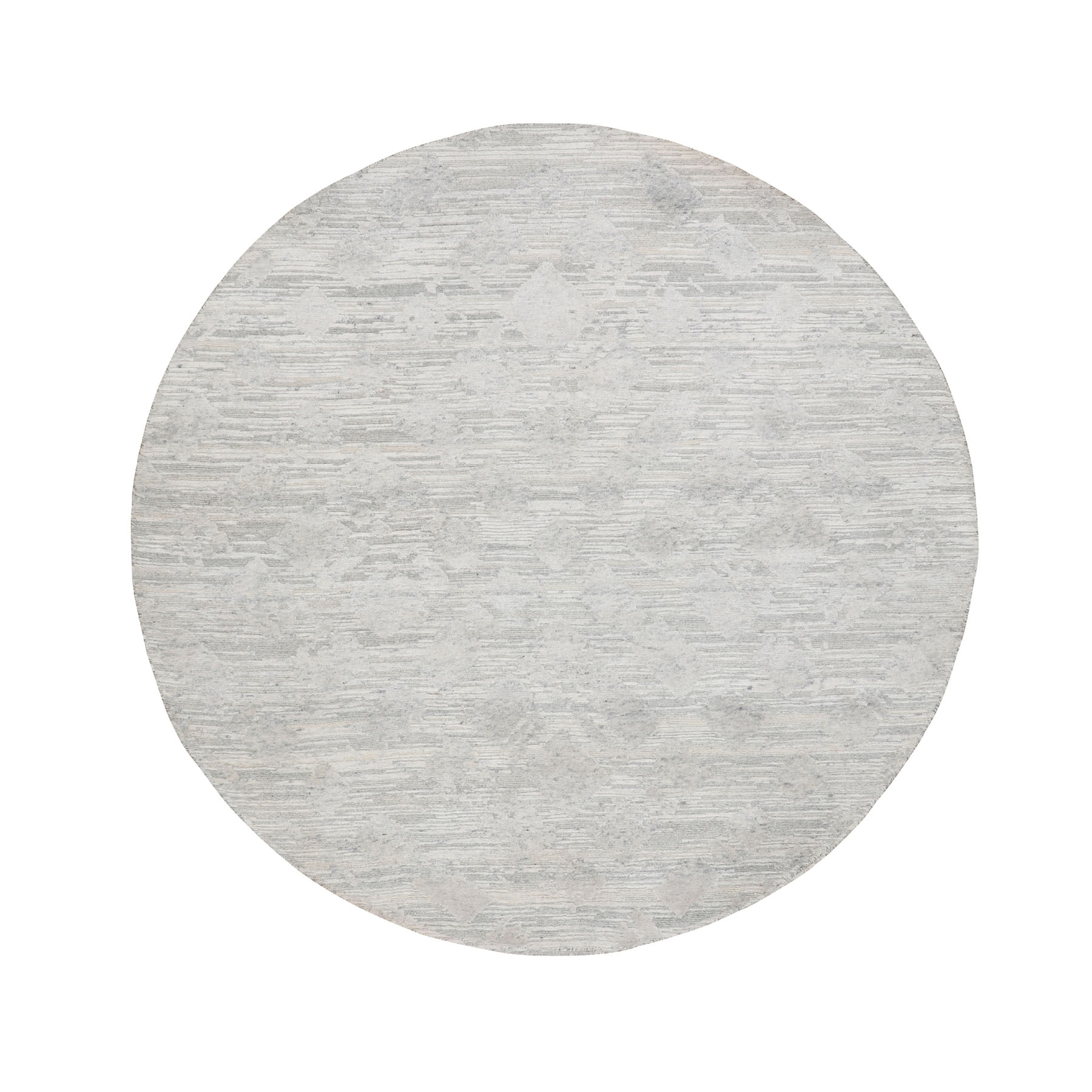 6'X6' Ivory Hand Spun Undyed Natural Wool Modern Round Hand Knotted Oriental Rug moae8bc8